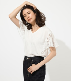 【AZUL BY MOUSSY】LACE SLEEVE TOP
