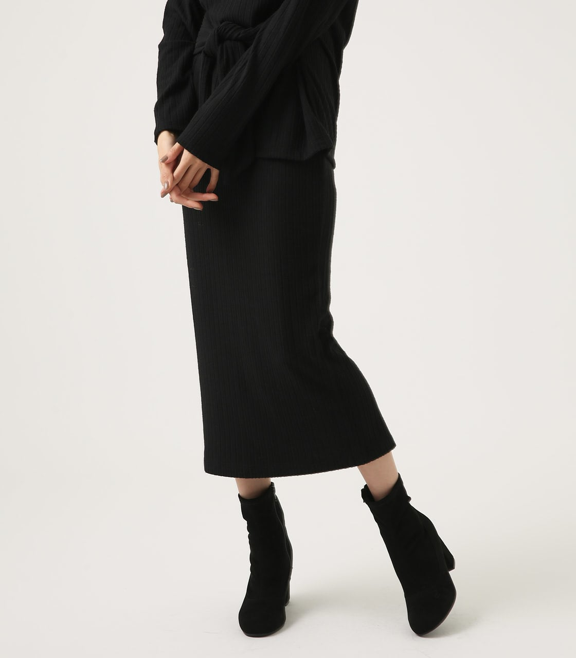 【AZUL BY MOUSSY】BLUSHED TIGHT MIDI SKIRT 詳細画像 BLK 1
