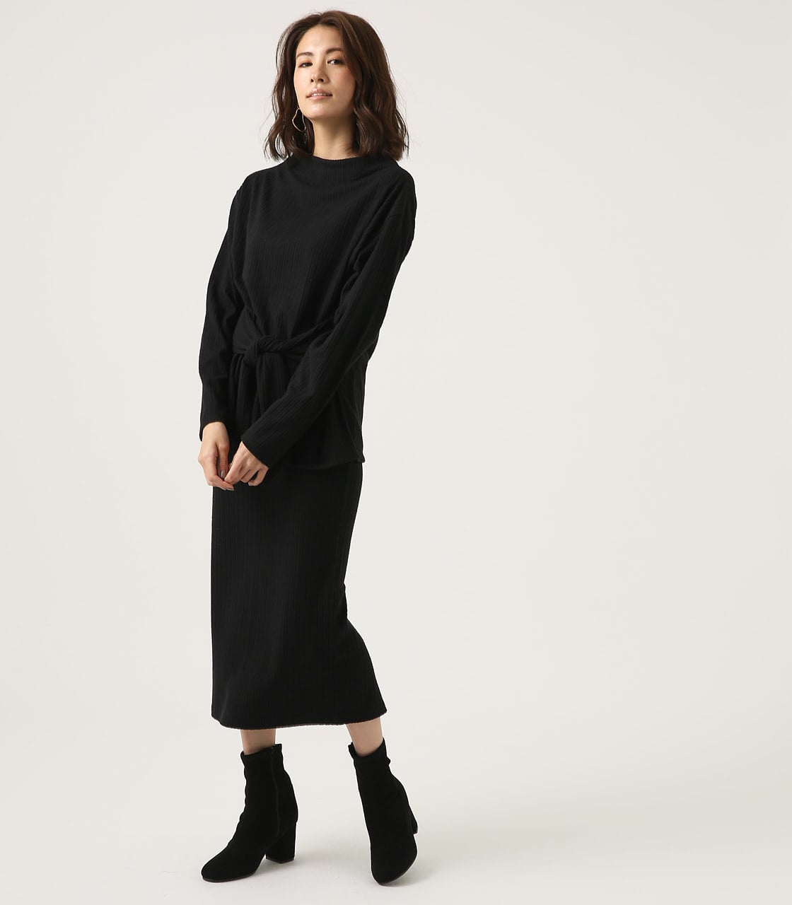 【AZUL BY MOUSSY】BLUSHED TIGHT MIDI SKIRT 詳細画像 BLK 4