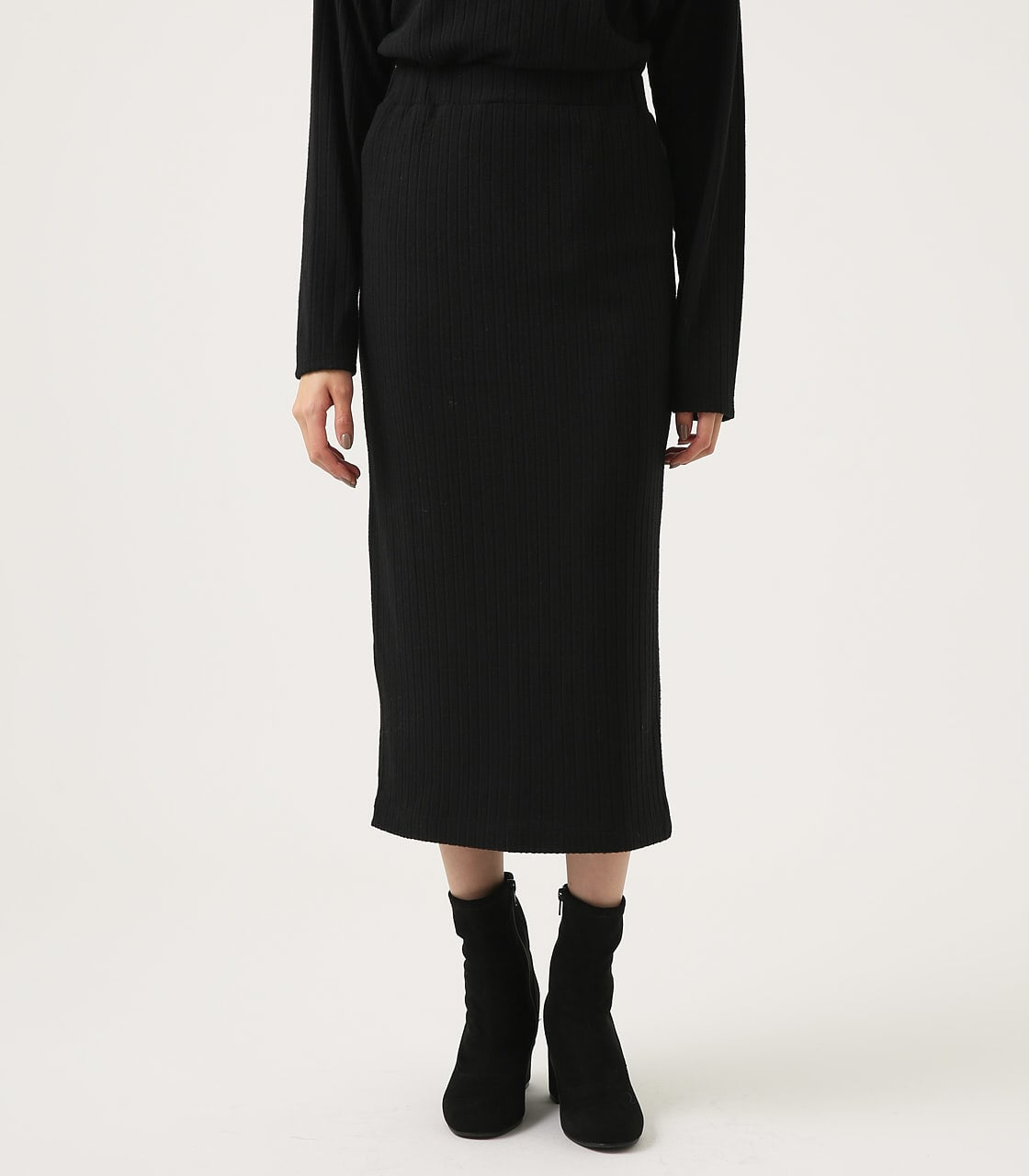 【AZUL BY MOUSSY】BLUSHED TIGHT MIDI SKIRT 詳細画像 BLK 5