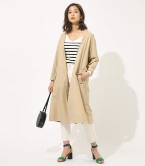 【AZUL BY MOUSSY】COLLARLESS LONG COAT 【MOOK49掲載 90045】