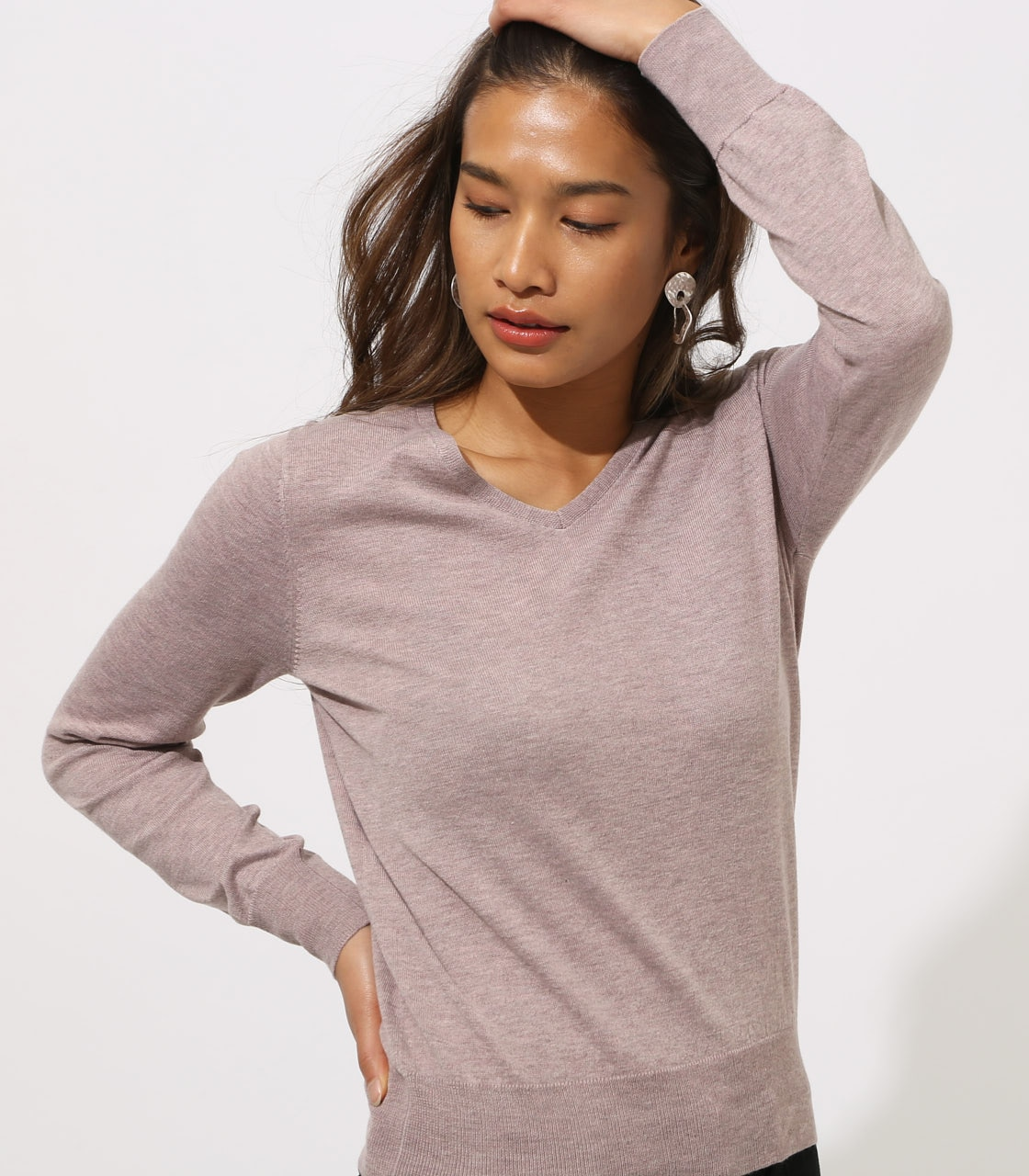 BASIC VNECK KNIT TOPS 詳細画像 BEG 2