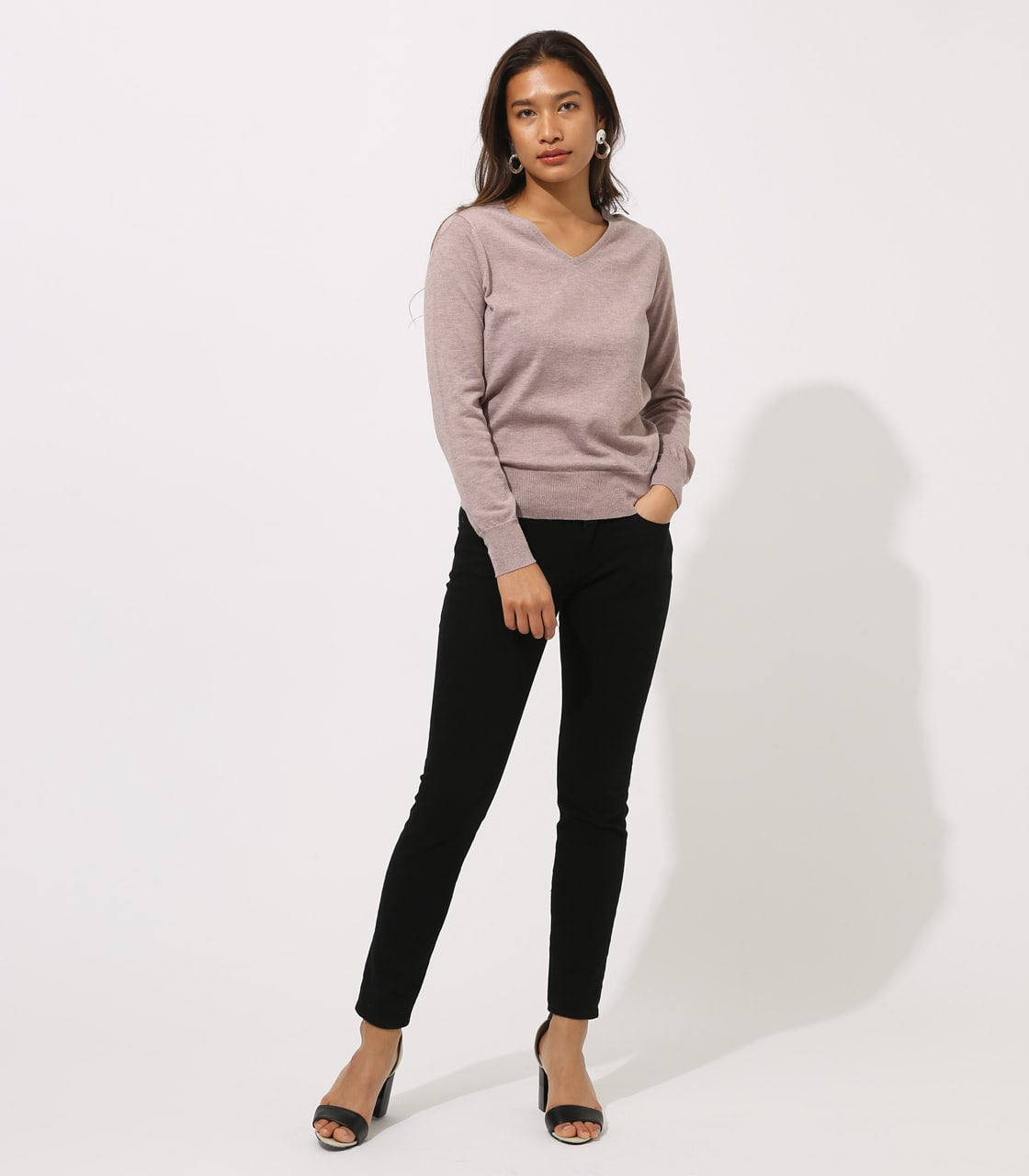 BASIC VNECK KNIT TOPS 詳細画像 BEG 4