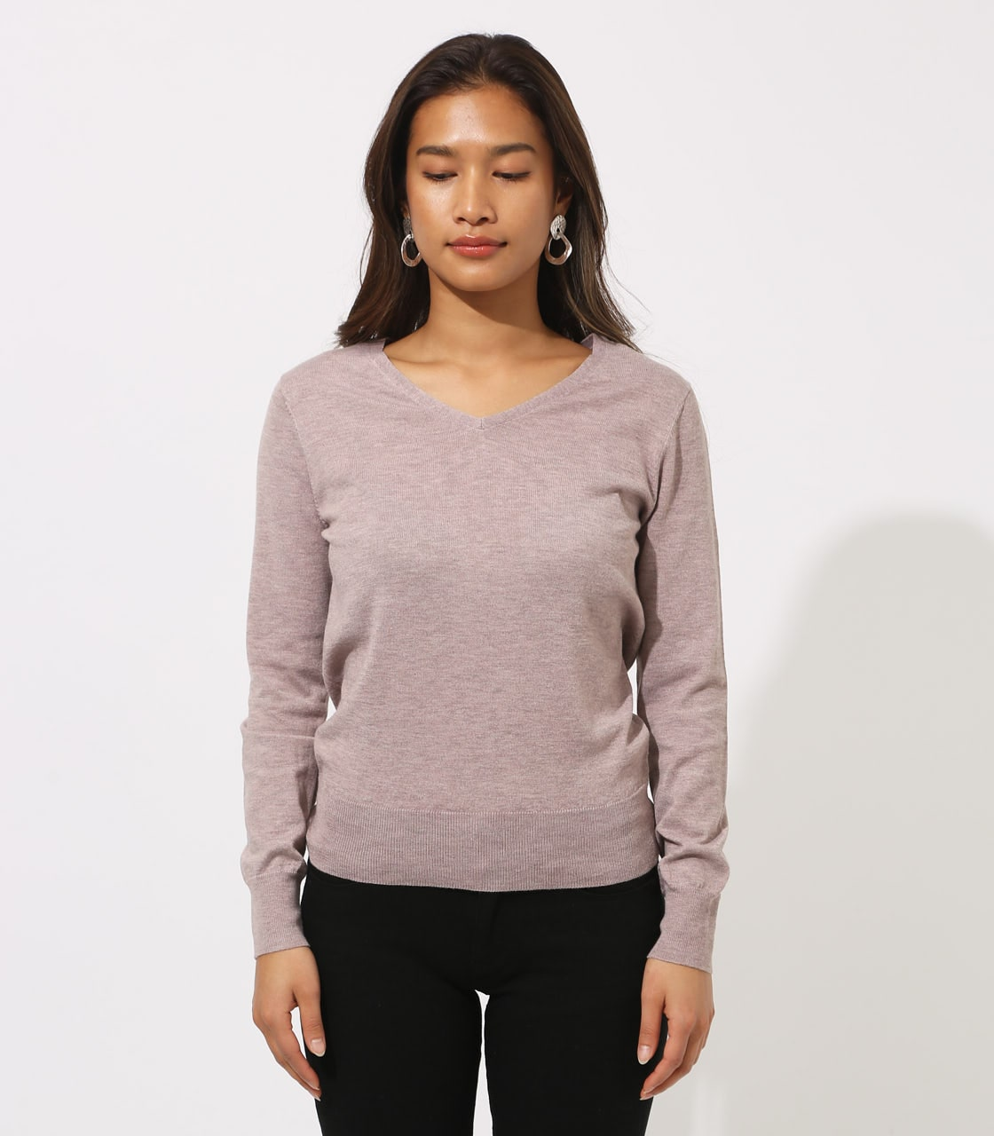 BASIC VNECK KNIT TOPS 詳細画像 BEG 5