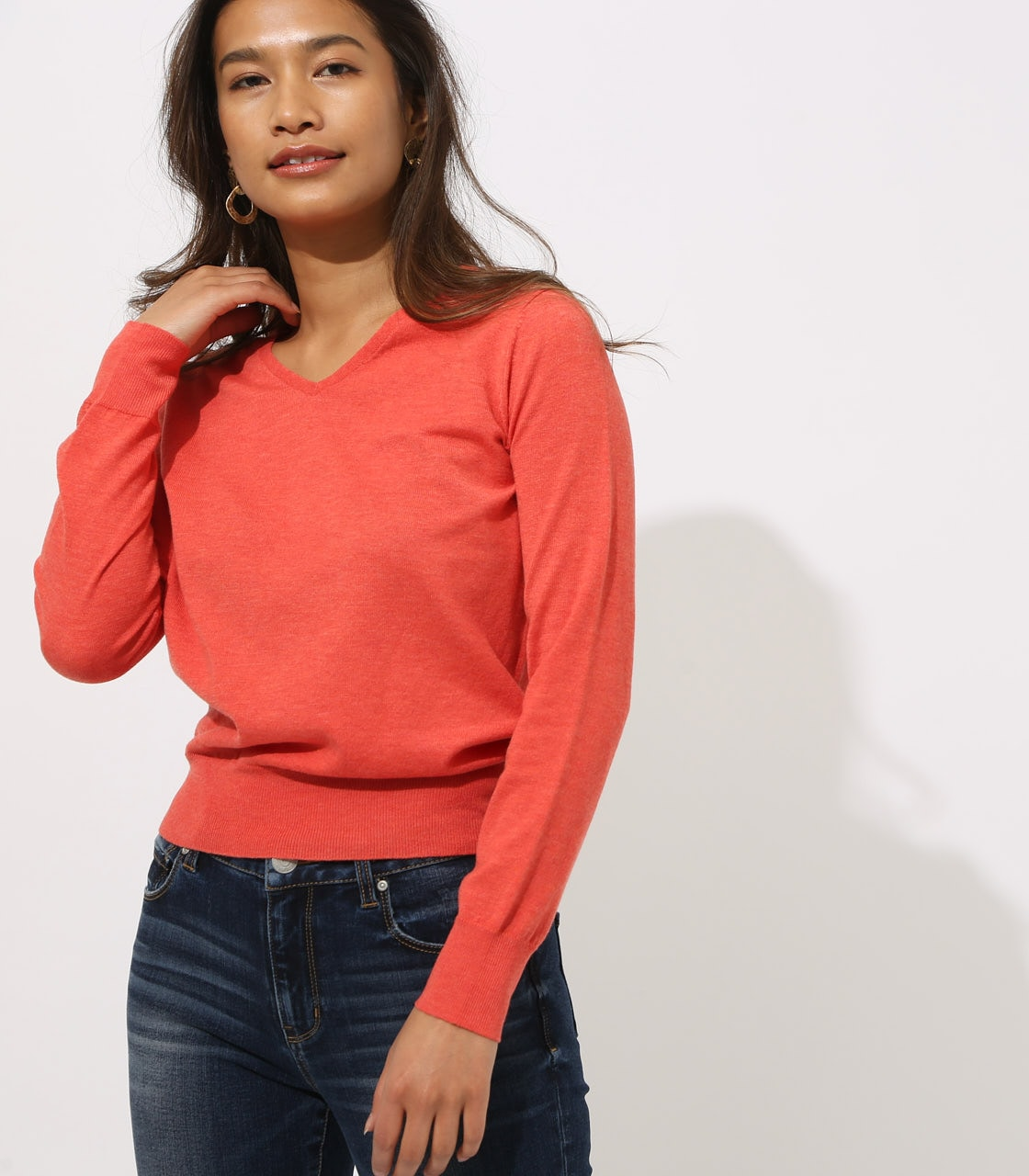 BASIC VNECK KNIT TOPS 詳細画像 L/RED 2