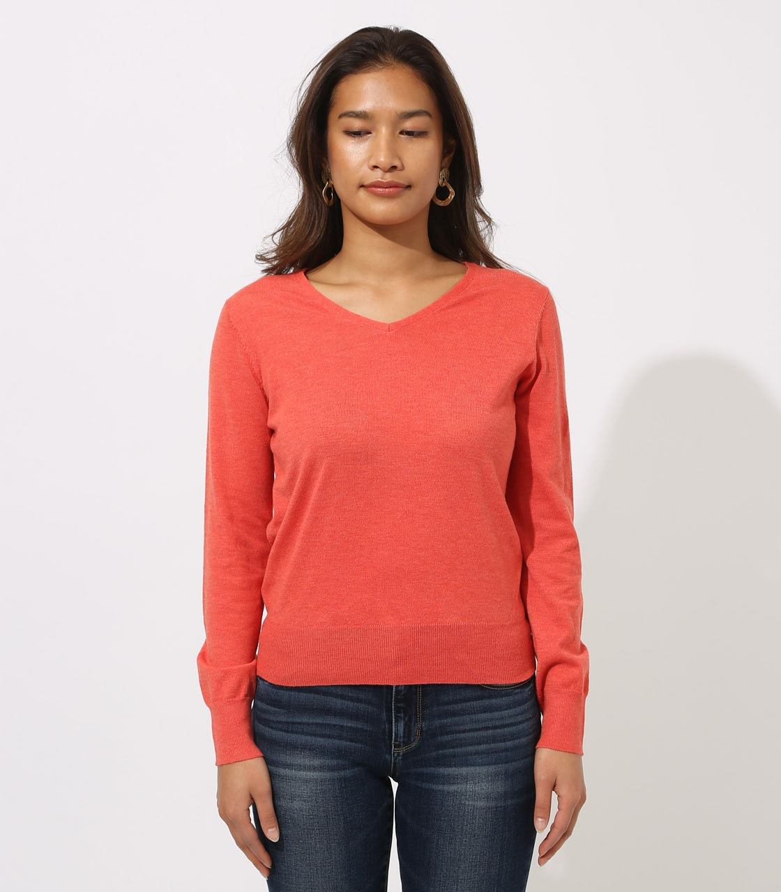 BASIC VNECK KNIT TOPS 詳細画像 L/RED 5