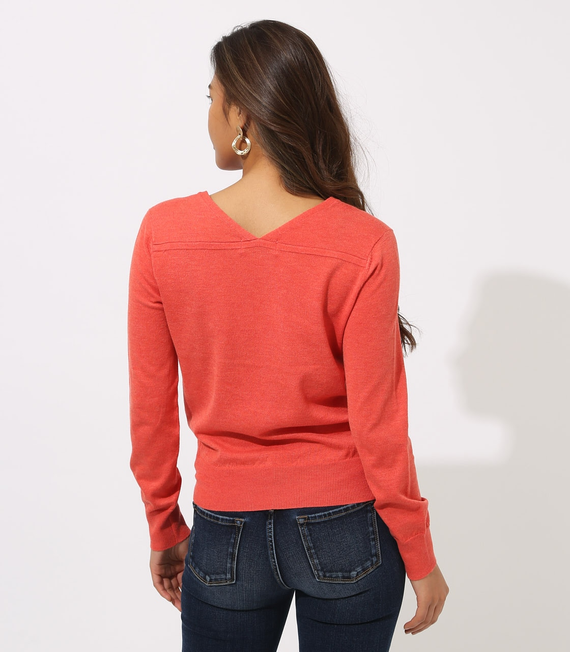 BASIC VNECK KNIT TOPS 詳細画像 L/RED 7