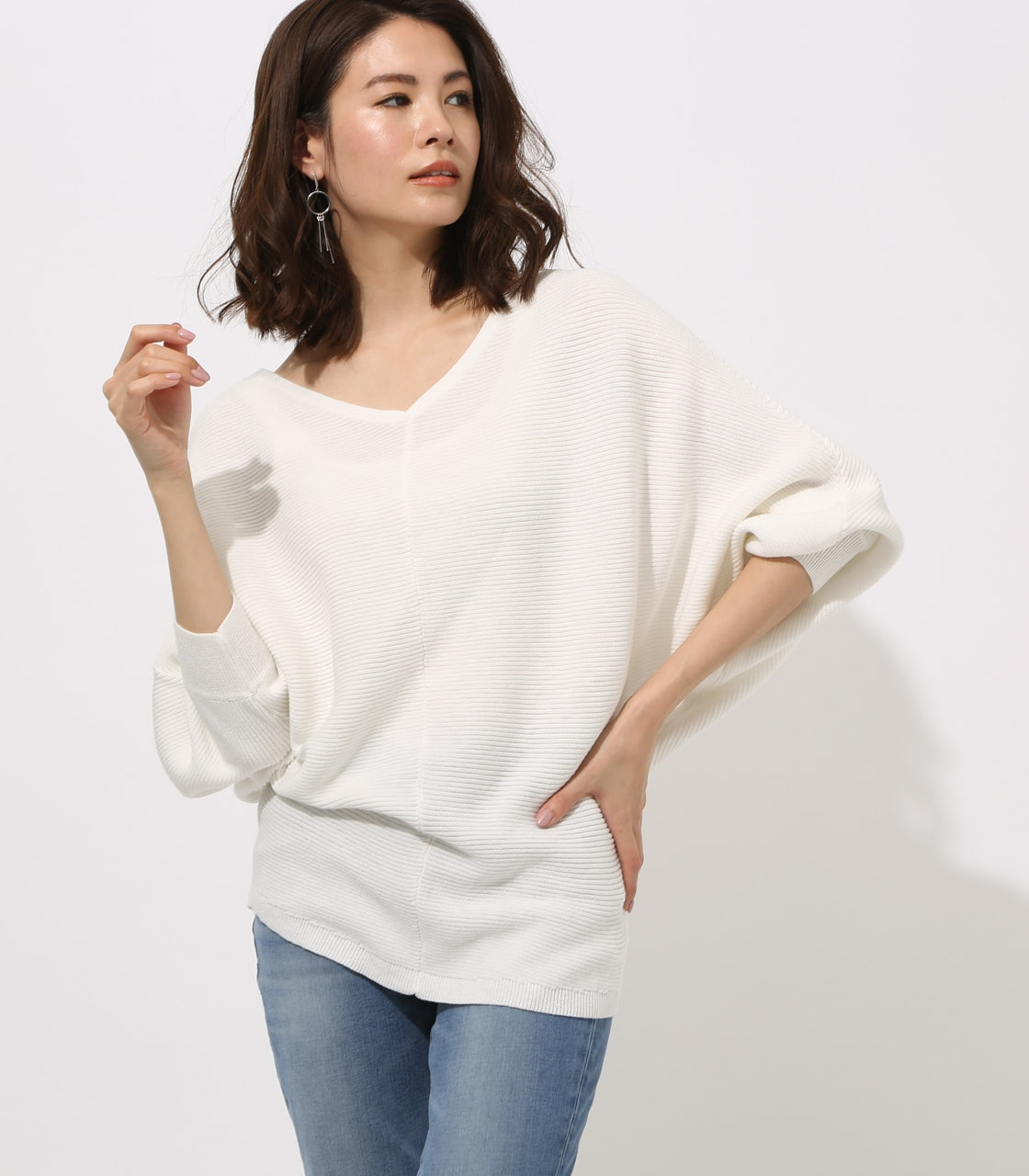 【AZUL BY MOUSSY】2WAY DOLMAN KNIT TOPS 詳細画像 O/WHT 1
