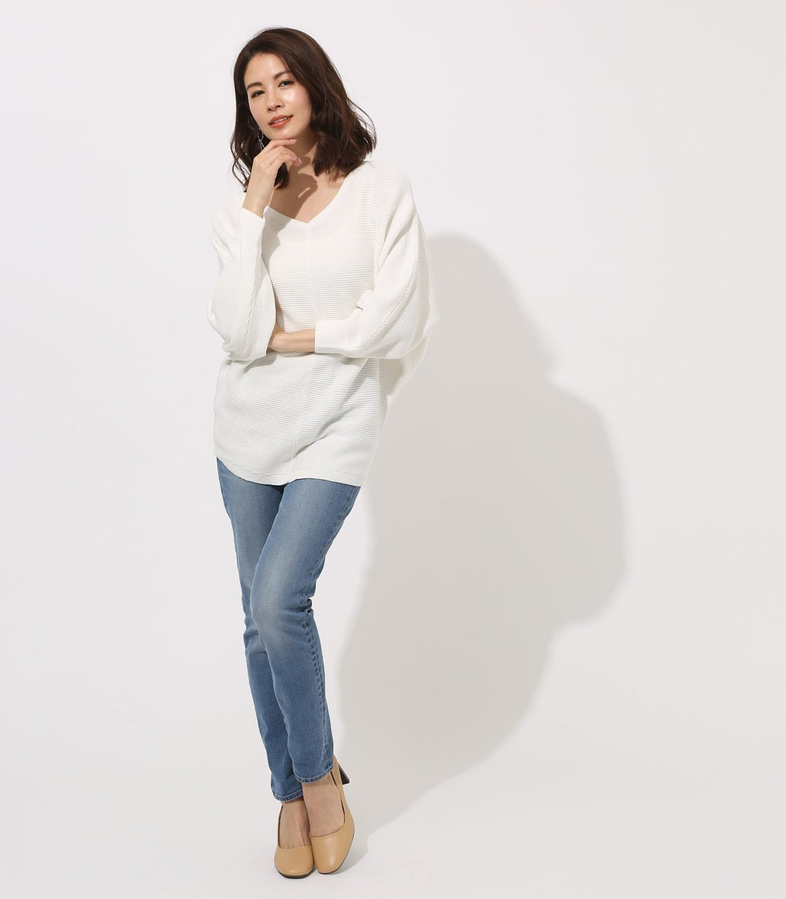 【AZUL BY MOUSSY】2WAY DOLMAN KNIT TOPS 詳細画像 O/WHT 4
