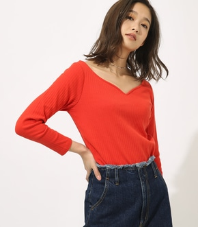HEART NECK RIB TOPS 詳細画像