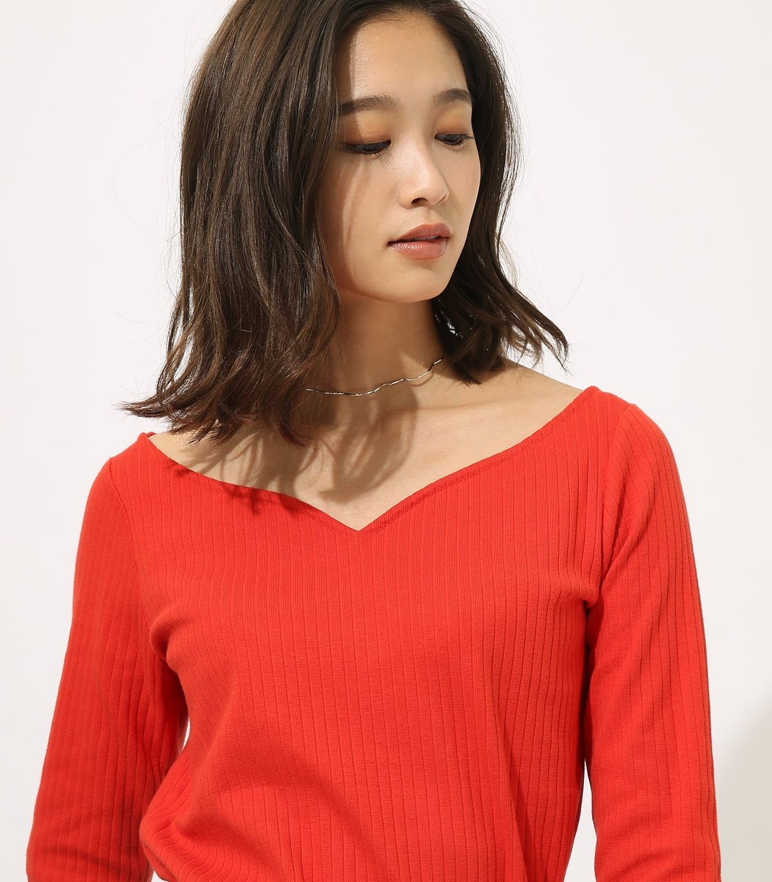 HEART NECK RIB TOPS 詳細画像 RED 8