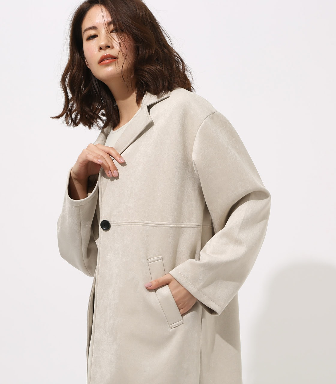FAKE SUEDE CHESTER COAT 詳細画像 L/GRY 2