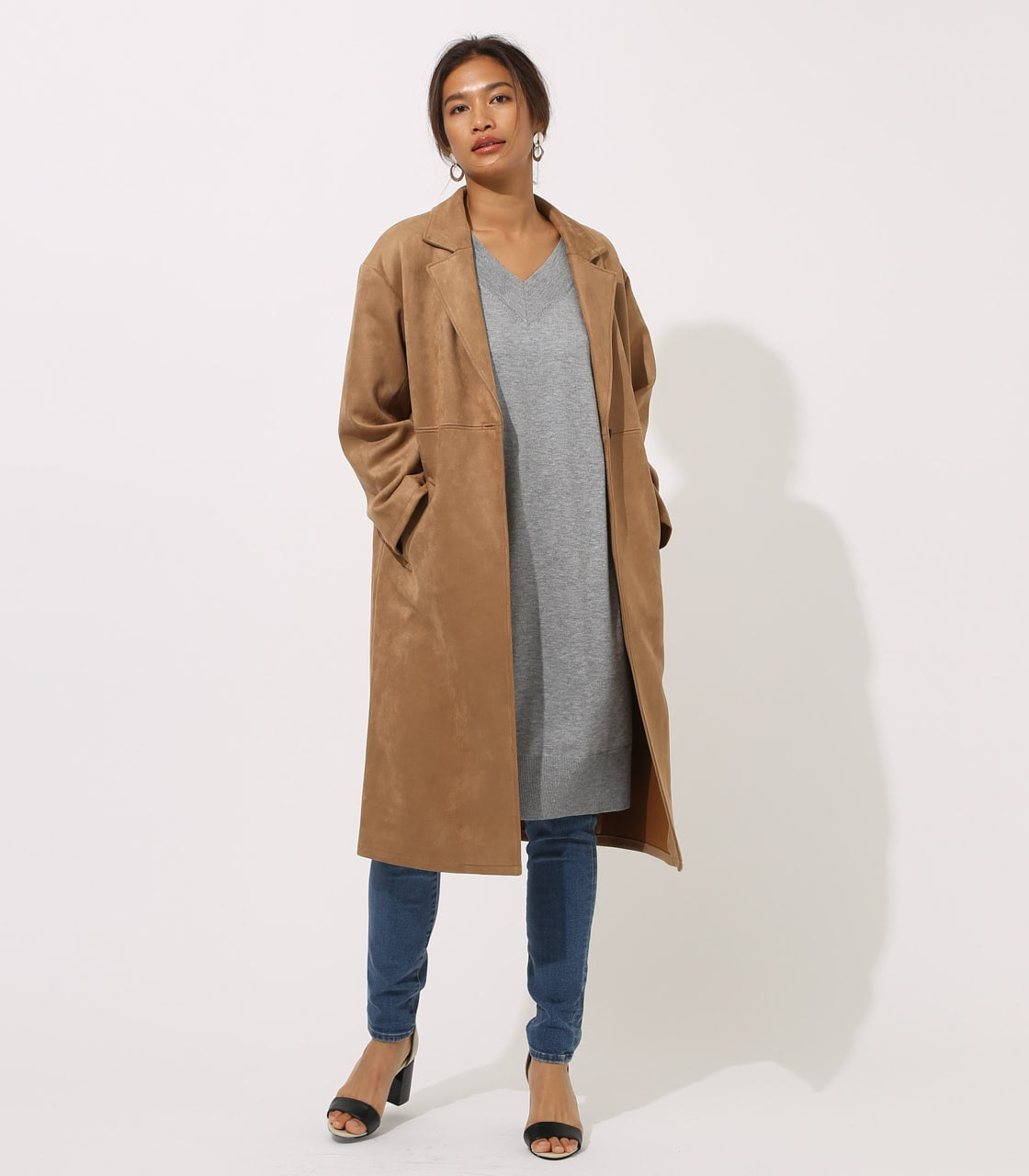 【AZUL BY MOUSSY】FAKE SUEDE CHESTER COAT 詳細画像 CAM 1