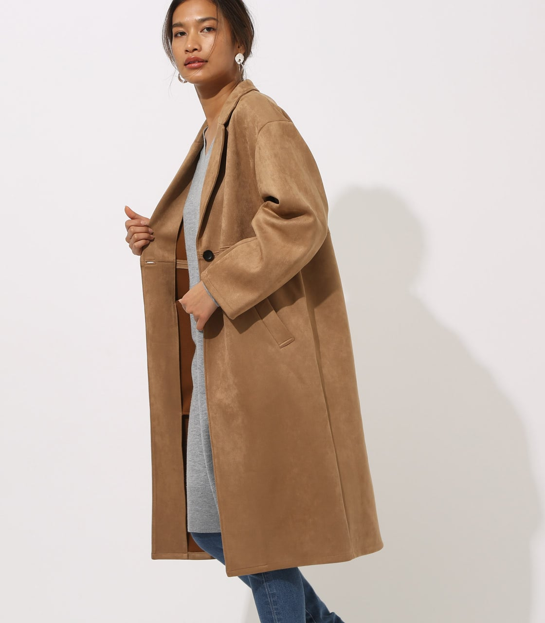 【AZUL BY MOUSSY】FAKE SUEDE CHESTER COAT 詳細画像 CAM 4