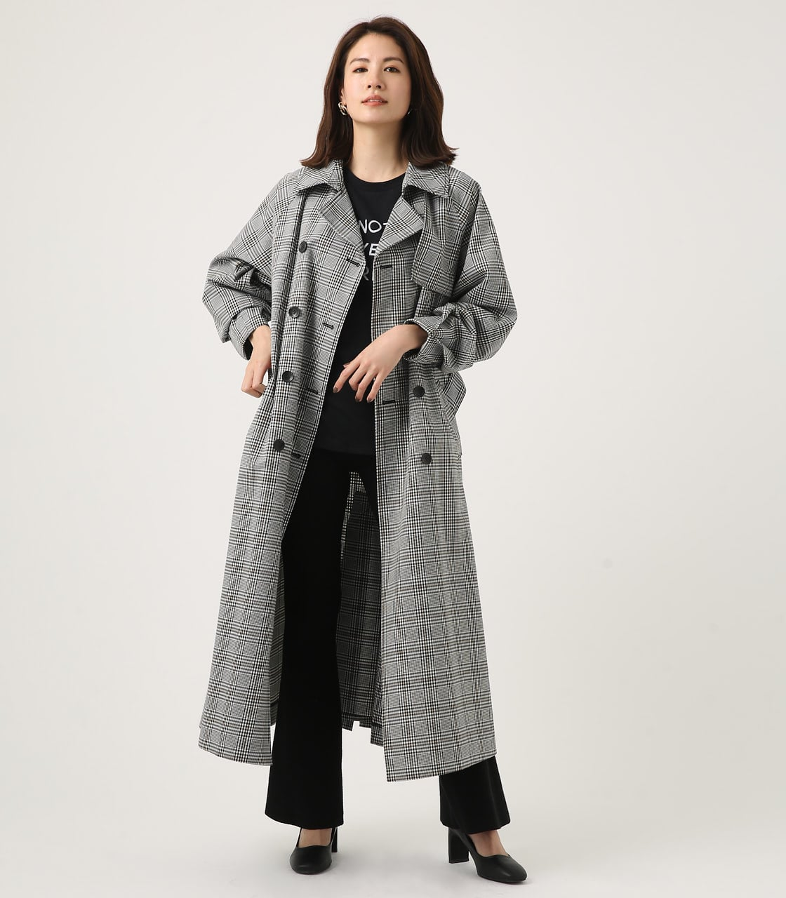 【AZUL BY MOUSSY】VOLUME SLEEVE LONG TRENCH COAT 詳細画像 柄BLK 1