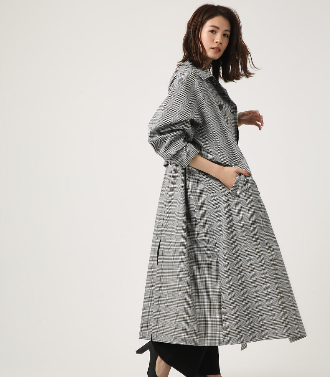 【AZUL BY MOUSSY】VOLUME SLEEVE LONG TRENCH COAT 詳細画像 柄BLK 2