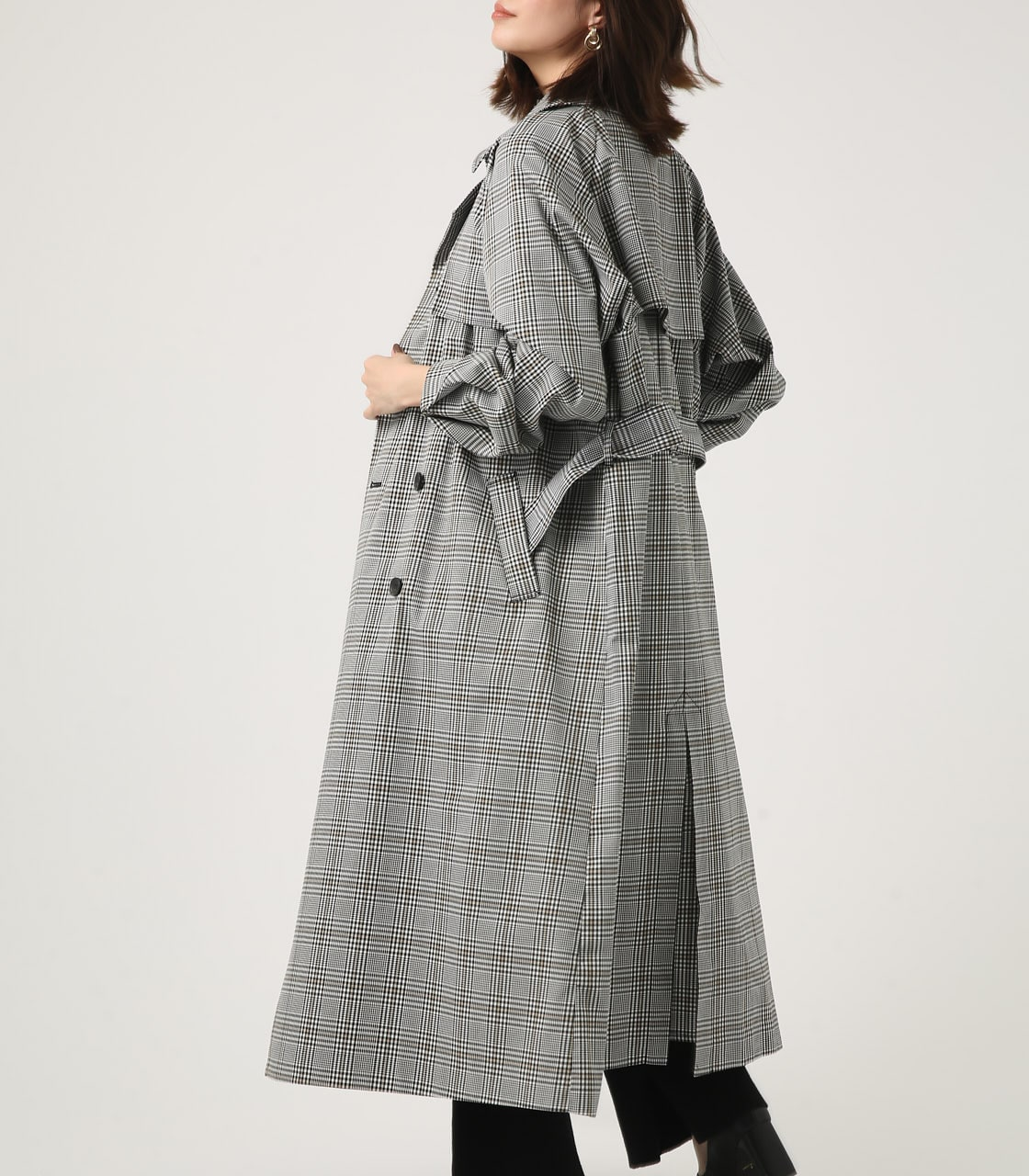 【AZUL BY MOUSSY】VOLUME SLEEVE LONG TRENCH COAT 詳細画像 柄BLK 3