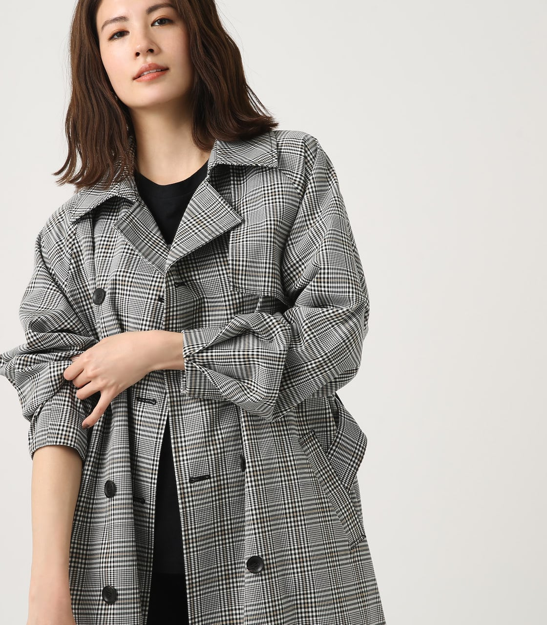 【AZUL BY MOUSSY】VOLUME SLEEVE LONG TRENCH COAT 詳細画像 柄BLK 4