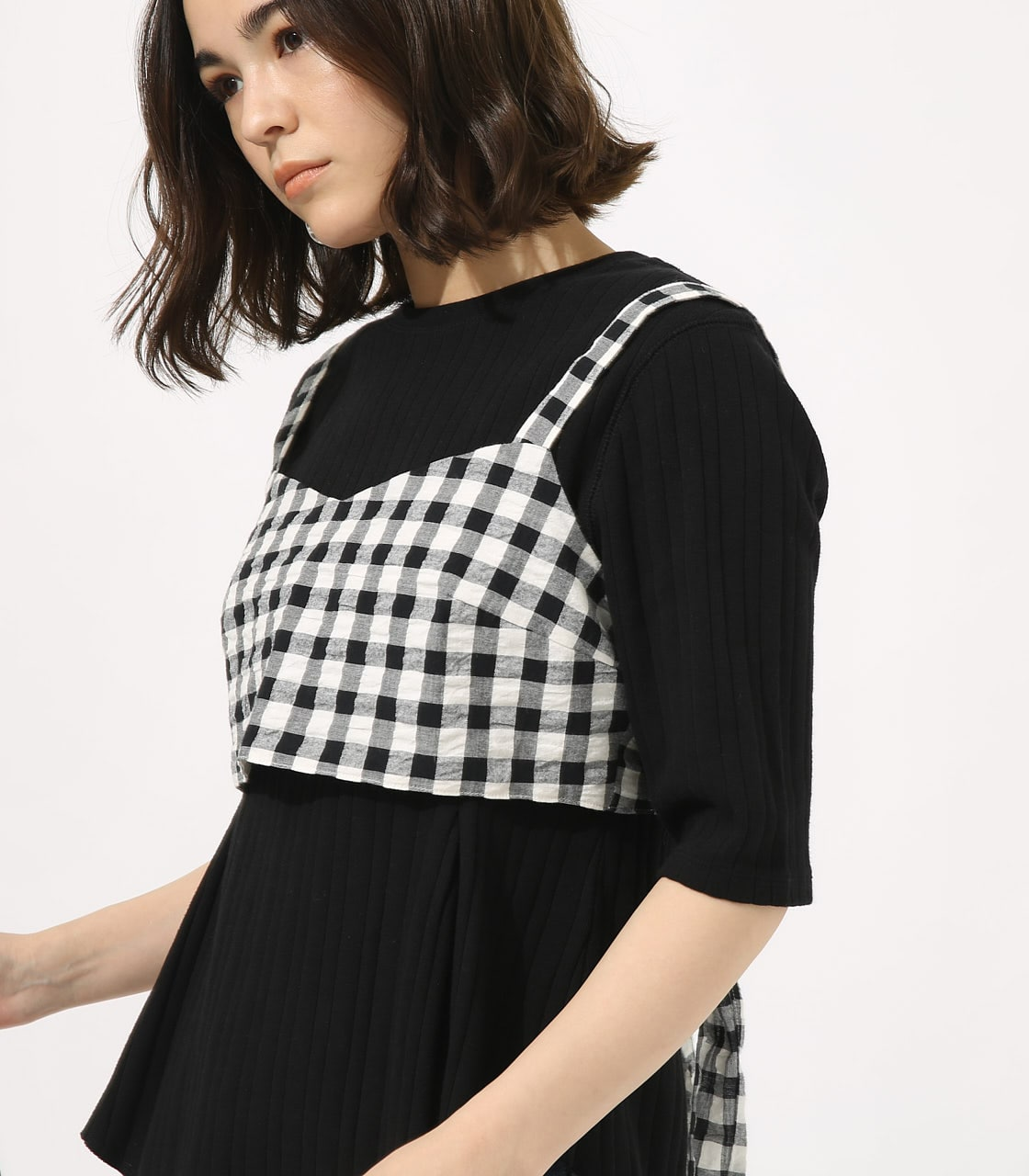 【AZUL BY MOUSSY】GINGHAM CHECK BUSTIER TOPS 【MOOK49掲載 90054】 詳細画像 柄BLK 1