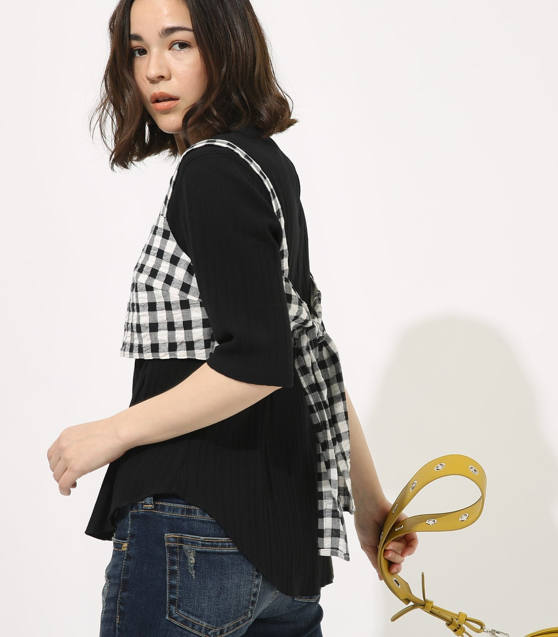 【AZUL BY MOUSSY】GINGHAM CHECK BUSTIER TOPS 【MOOK49掲載 90054】 詳細画像 柄BLK 2