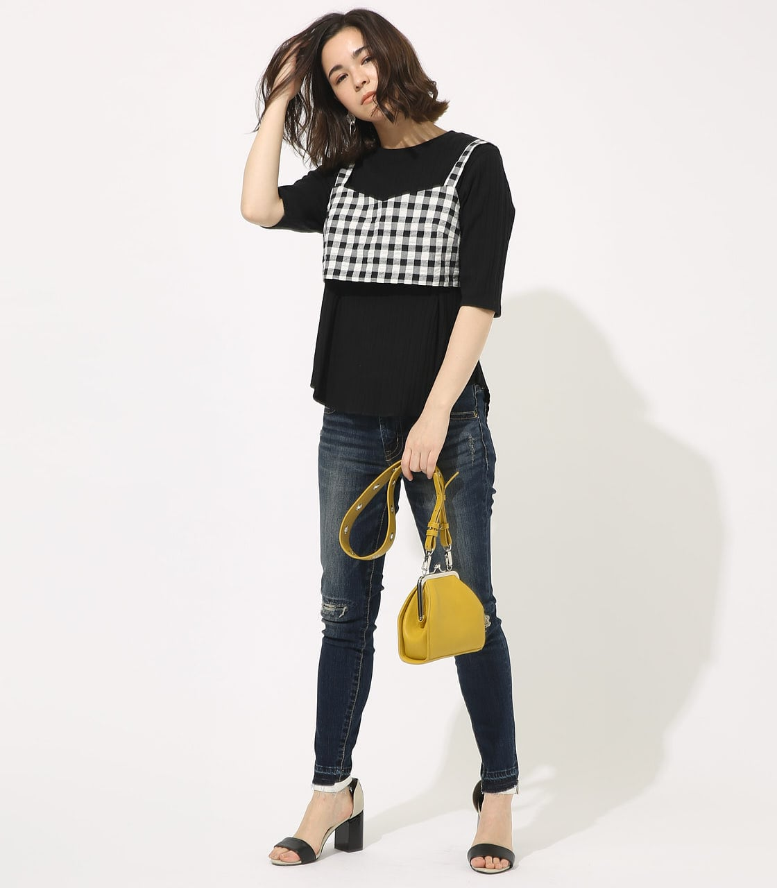 【AZUL BY MOUSSY】GINGHAM CHECK BUSTIER TOPS 【MOOK49掲載 90054】 詳細画像 柄BLK 3