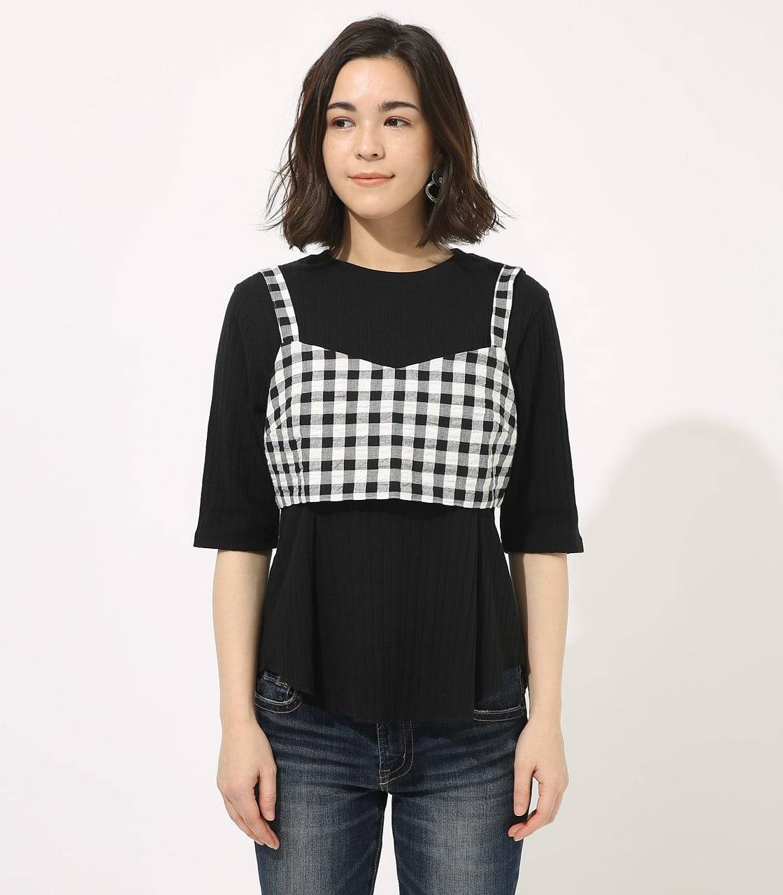【AZUL BY MOUSSY】GINGHAM CHECK BUSTIER TOPS 【MOOK49掲載 90054】 詳細画像 柄BLK 4