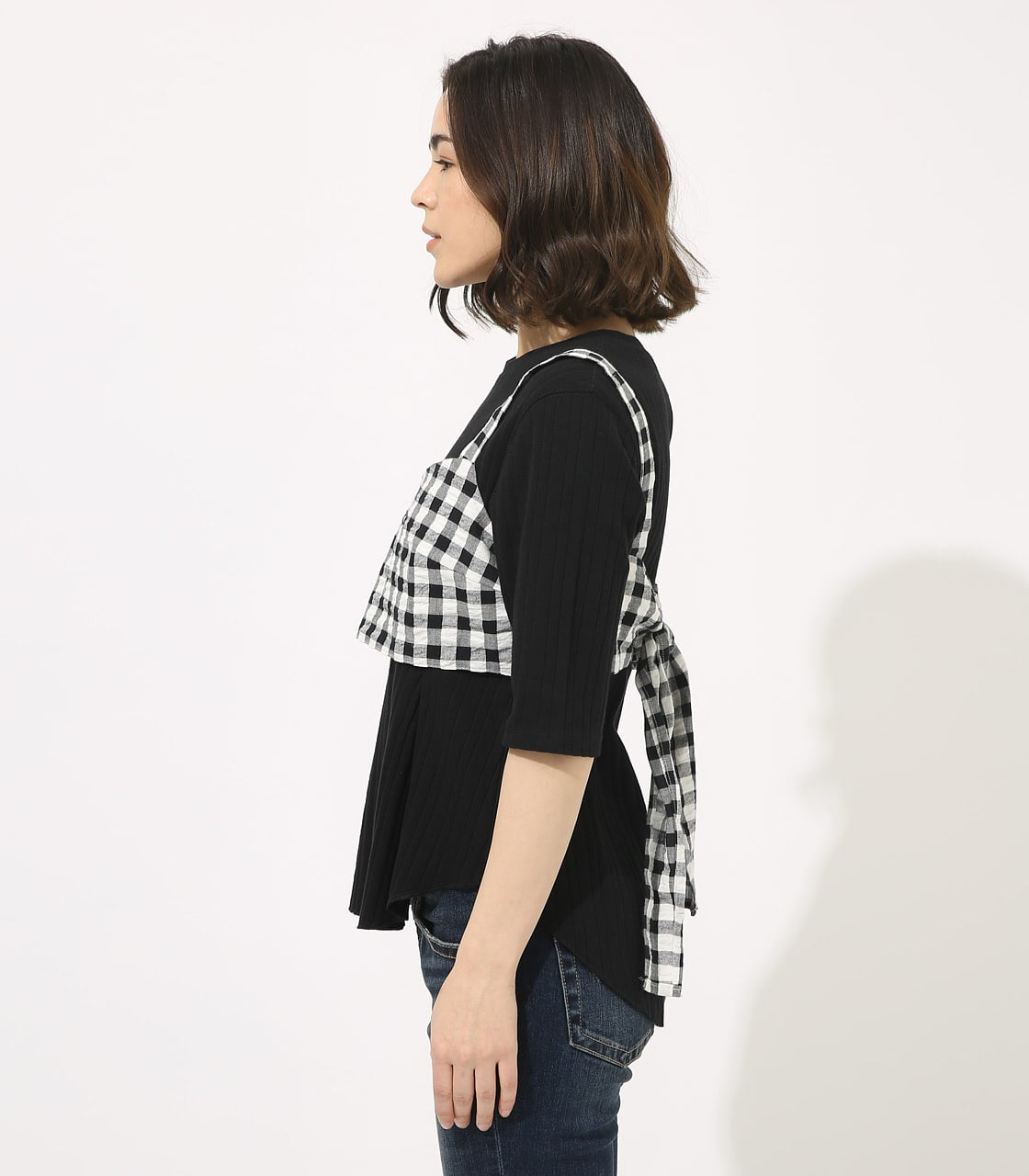 【AZUL BY MOUSSY】GINGHAM CHECK BUSTIER TOPS 【MOOK49掲載 90054】 詳細画像 柄BLK 5