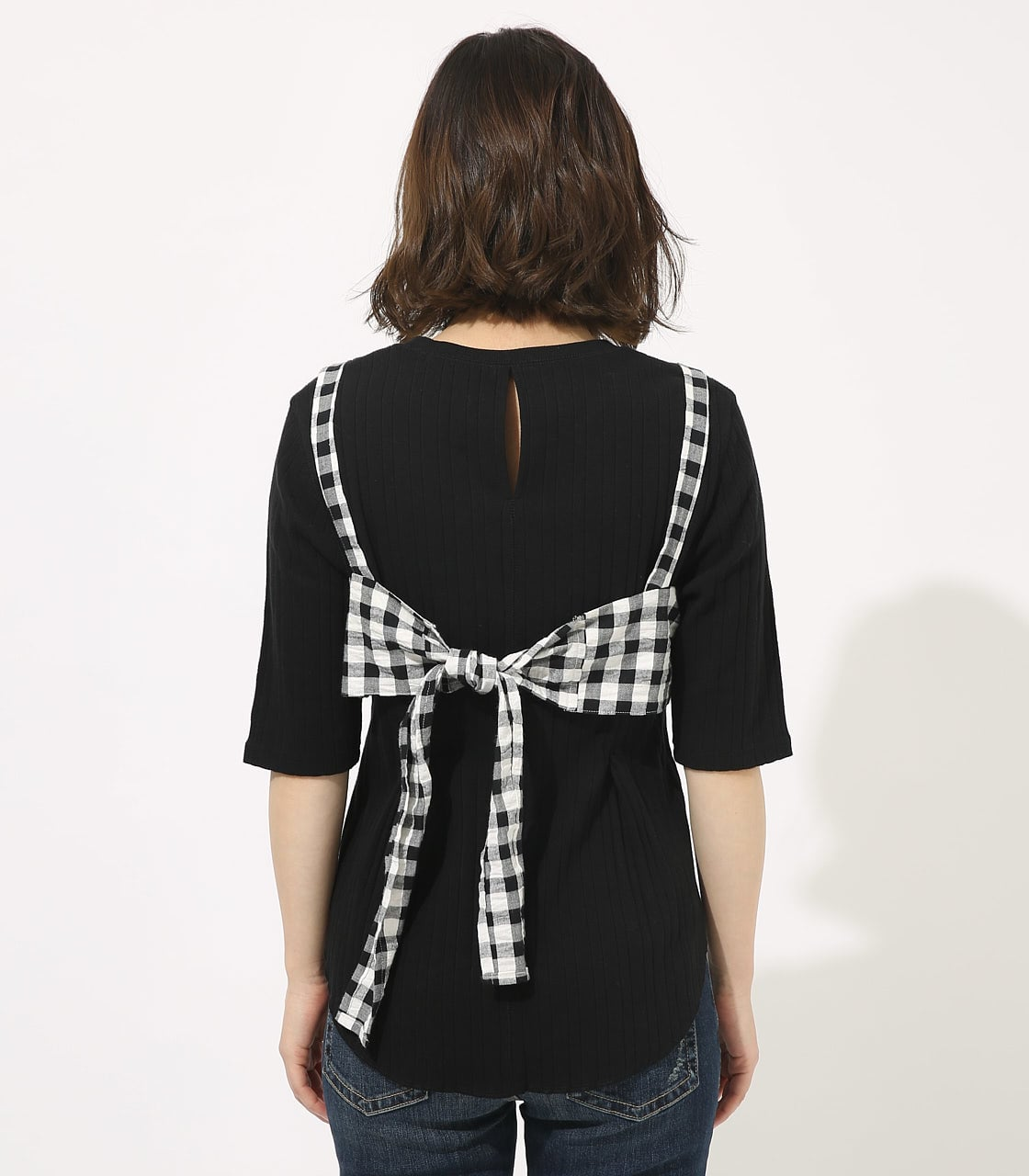 【AZUL BY MOUSSY】GINGHAM CHECK BUSTIER TOPS 【MOOK49掲載 90054】 詳細画像 柄BLK 6