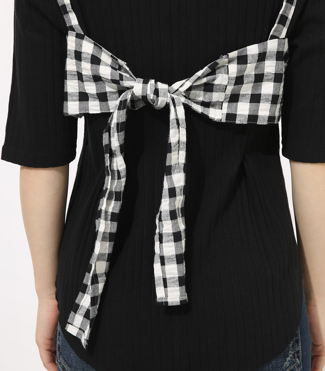 【AZUL BY MOUSSY】GINGHAM CHECK BUSTIER TOPS 【MOOK49掲載 90054】 詳細画像 柄BLK 8
