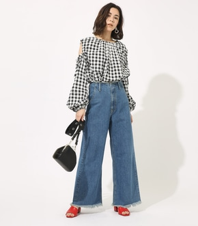 【AZUL BY MOUSSY】GINGHAM OPEN SHOULDER TOPS 【MOOK49掲載 90053】 詳細画像