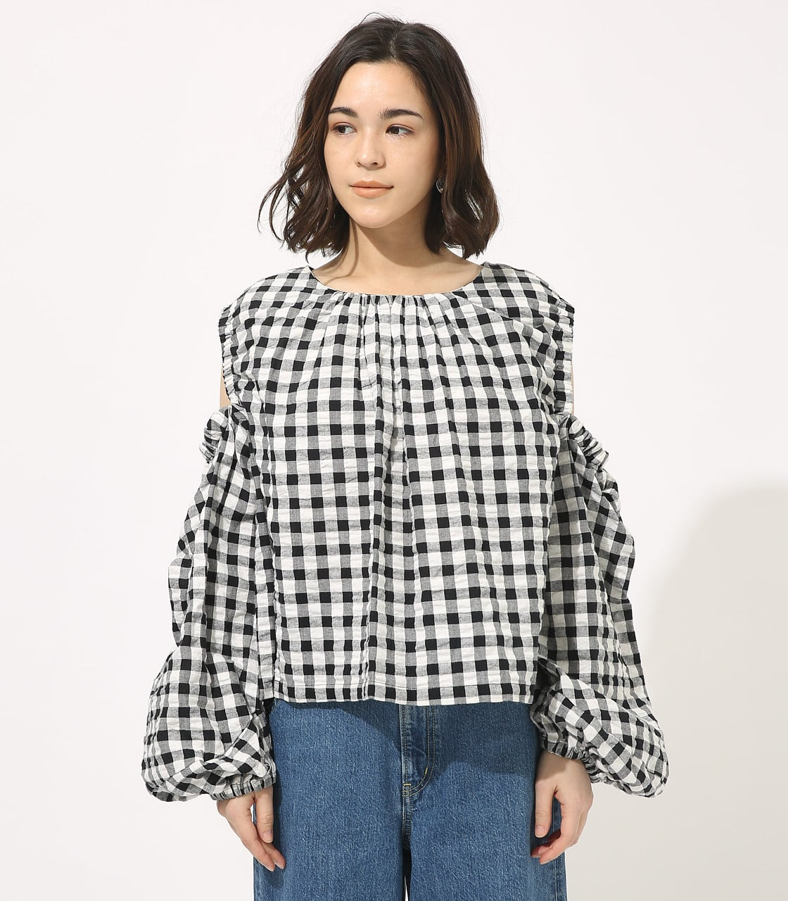 【AZUL BY MOUSSY】GINGHAM OPEN SHOULDER TOPS 【MOOK49掲載 90053】 詳細画像 柄BLK 4