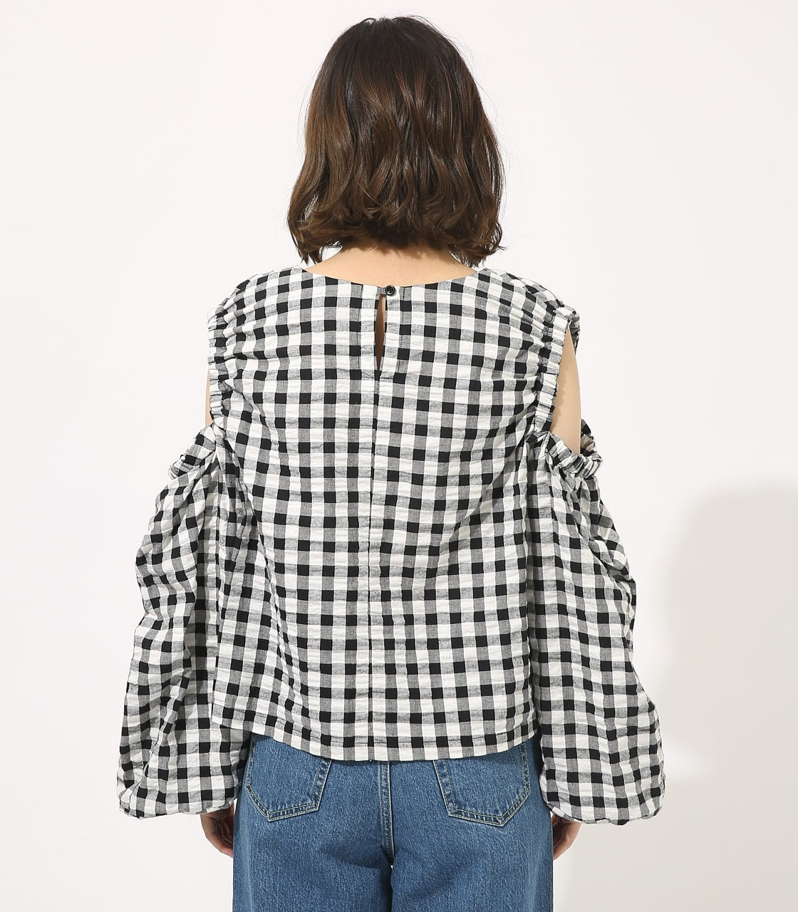 【AZUL BY MOUSSY】GINGHAM OPEN SHOULDER TOPS 【MOOK49掲載 90053】 詳細画像 柄BLK 6