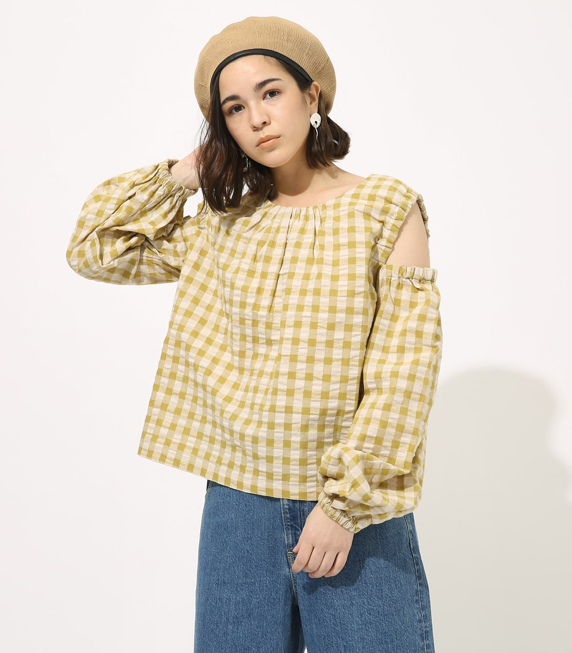 GINGHAM OPEN SHOULDER TOPS 【MOOK49掲載 90053】 詳細画像 柄LIME 1