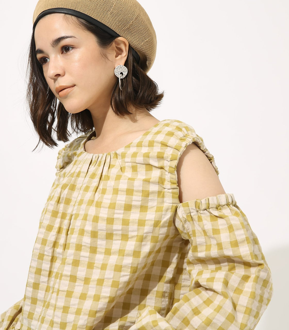 GINGHAM OPEN SHOULDER TOPS 【MOOK49掲載 90053】 詳細画像 柄LIME 2