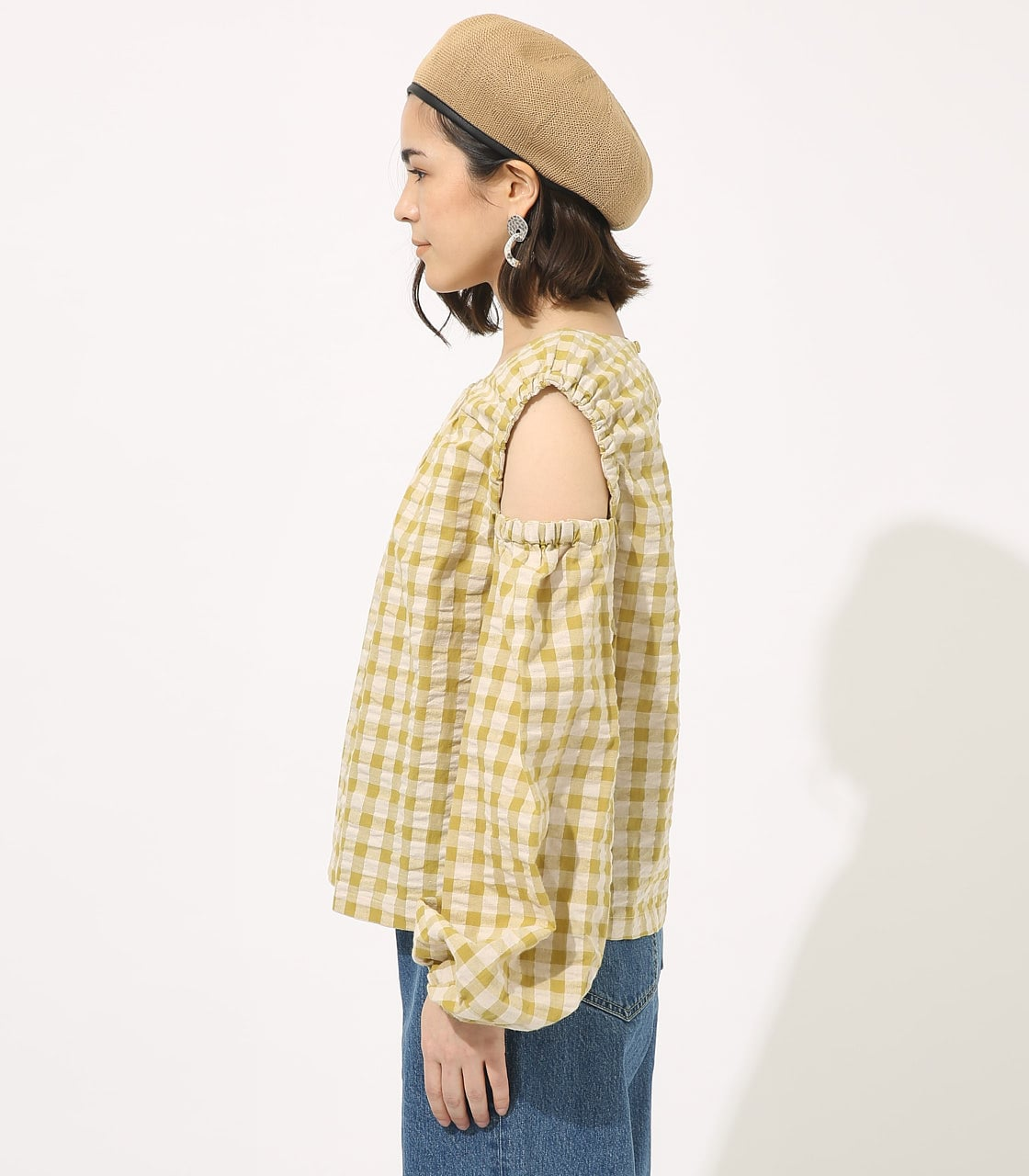 GINGHAM OPEN SHOULDER TOPS 【MOOK49掲載 90053】 詳細画像 柄LIME 5