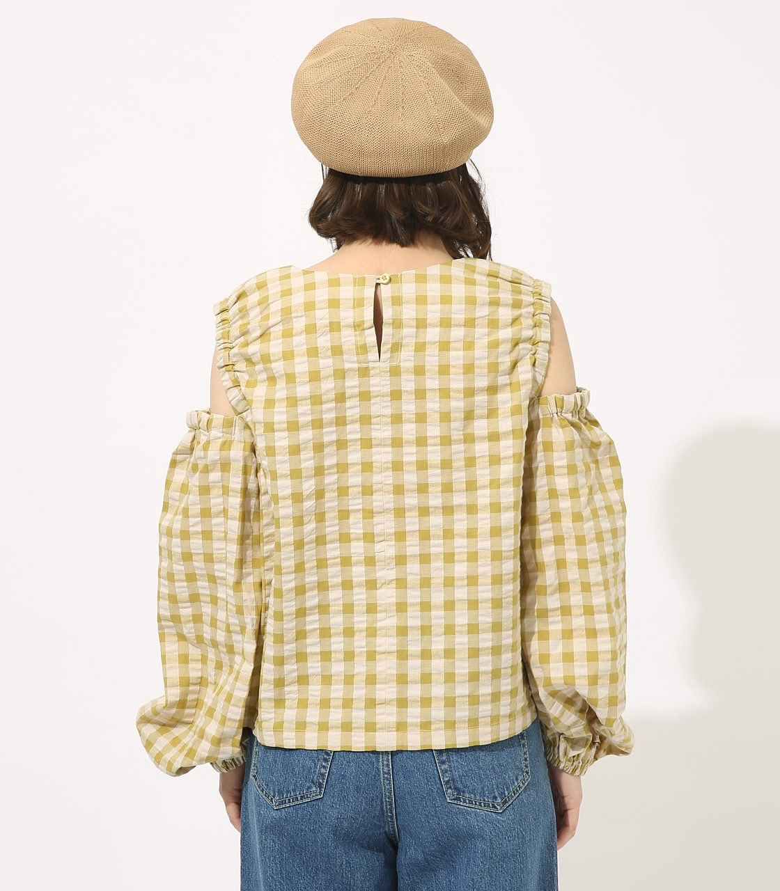 GINGHAM OPEN SHOULDER TOPS 【MOOK49掲載 90053】 詳細画像 柄LIME 6