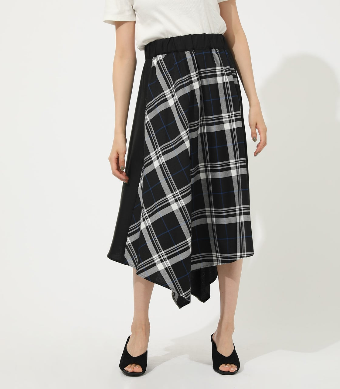 【AZUL BY MOUSSY】CHECK ASYMMETRY PATTERN SKIRT 詳細画像 柄BLK 1