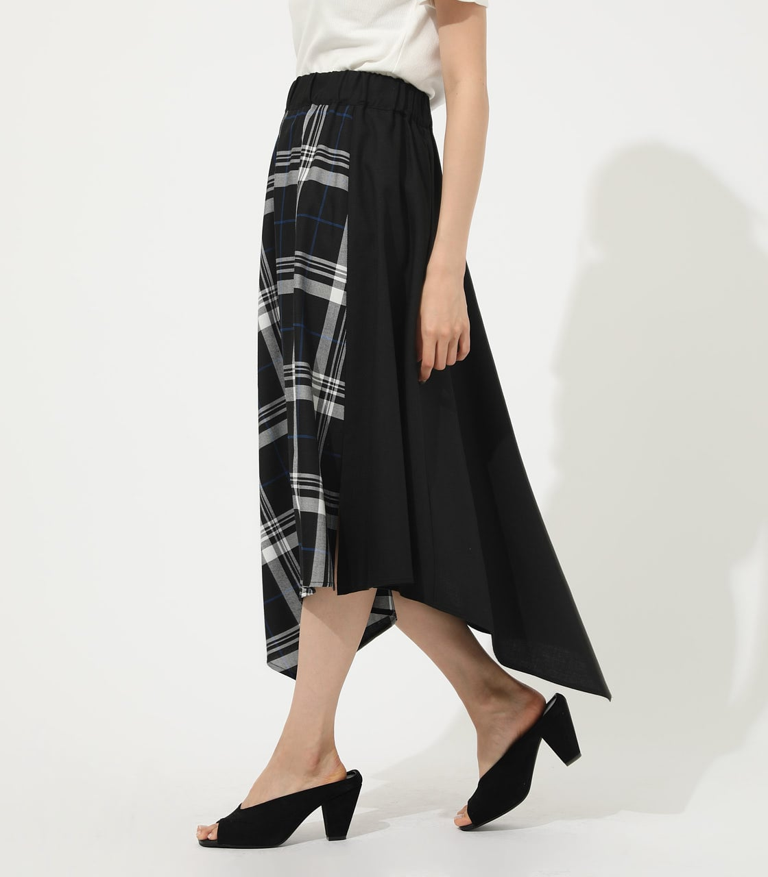 【AZUL BY MOUSSY】CHECK ASYMMETRY PATTERN SKIRT 詳細画像 柄BLK 2