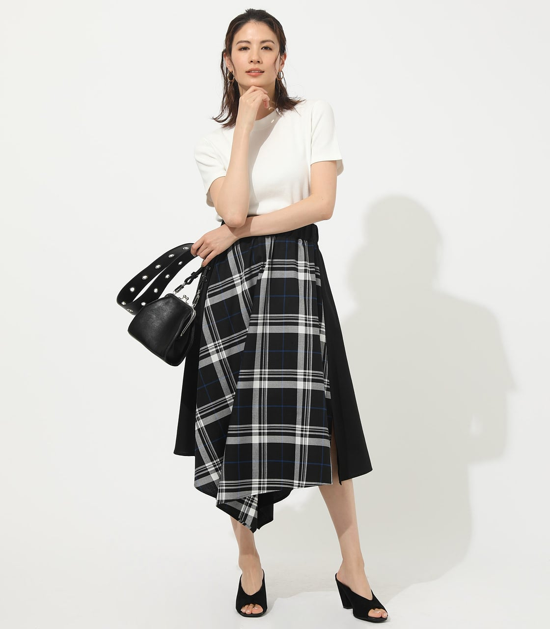 【AZUL BY MOUSSY】CHECK ASYMMETRY PATTERN SKIRT 詳細画像 柄BLK 3