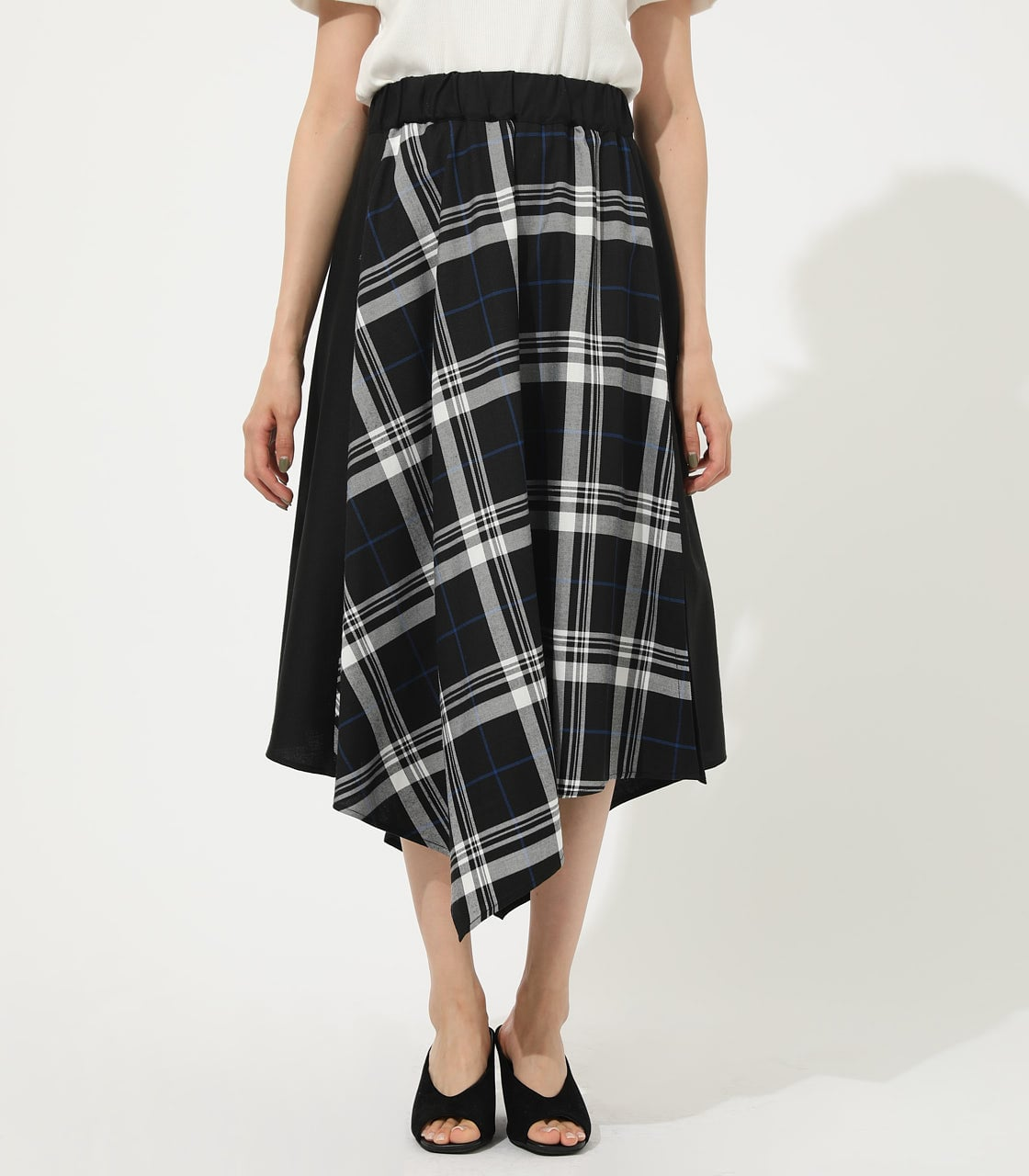 【AZUL BY MOUSSY】CHECK ASYMMETRY PATTERN SKIRT 詳細画像 柄BLK 4