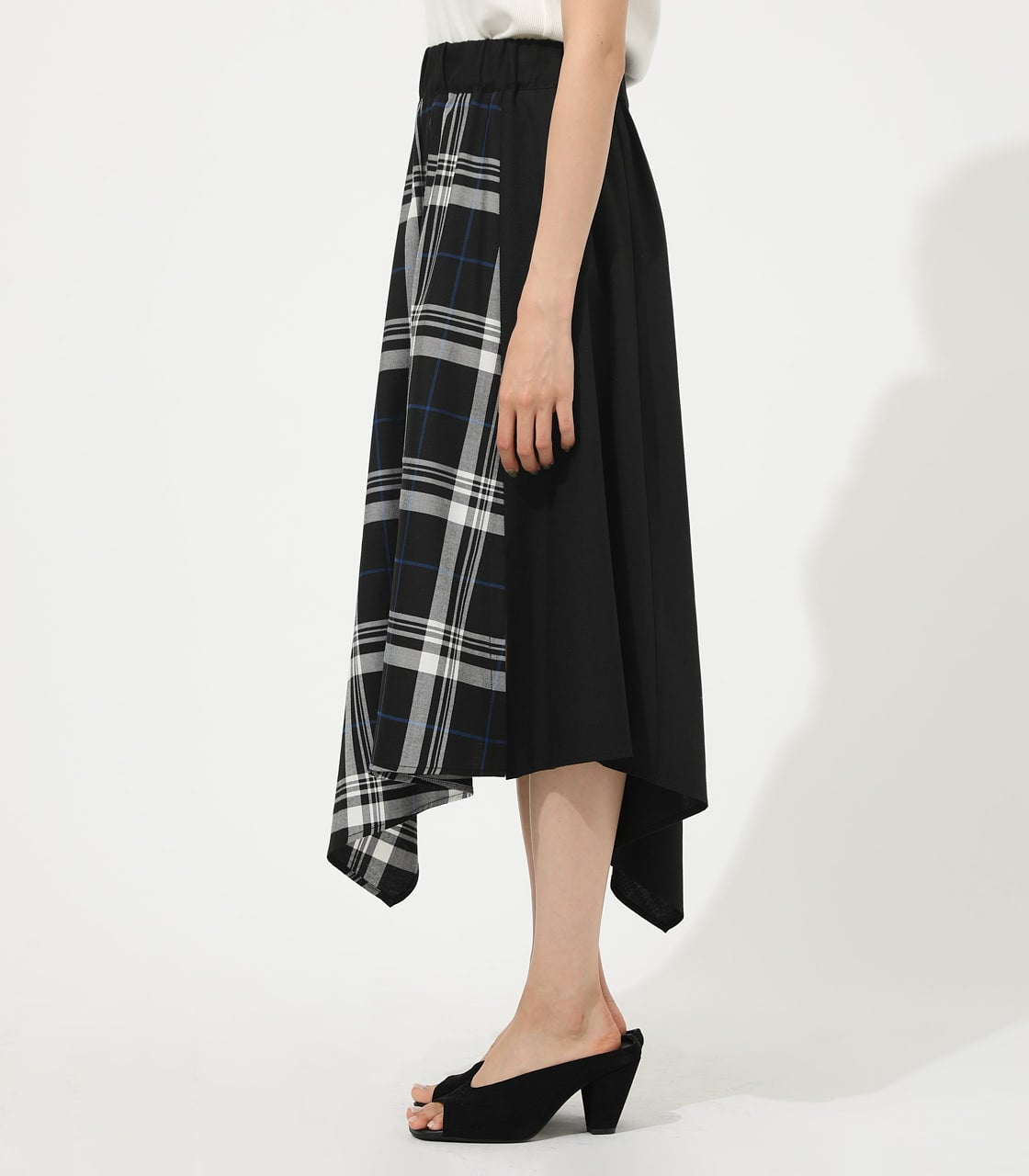 【AZUL BY MOUSSY】CHECK ASYMMETRY PATTERN SKIRT 詳細画像 柄BLK 5