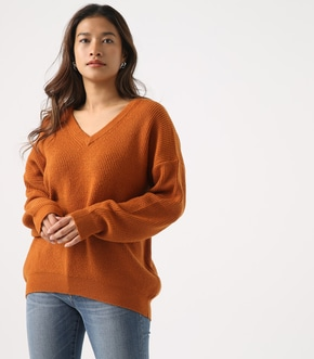 V NECK LOOSE KNIT TOPS