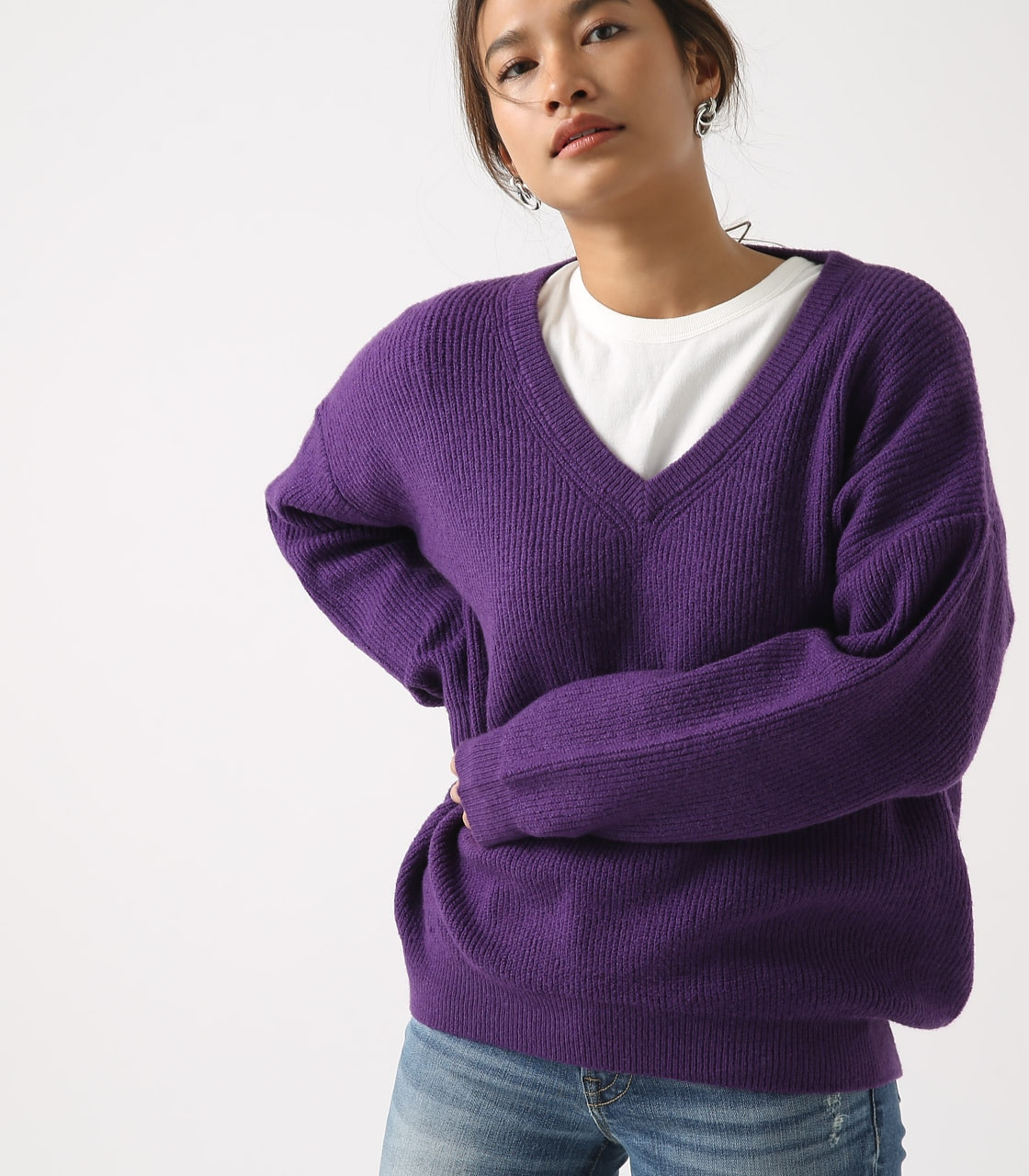 【AZUL BY MOUSSY】V NECK LOOSE KNIT TOPS 詳細画像 PUR 1