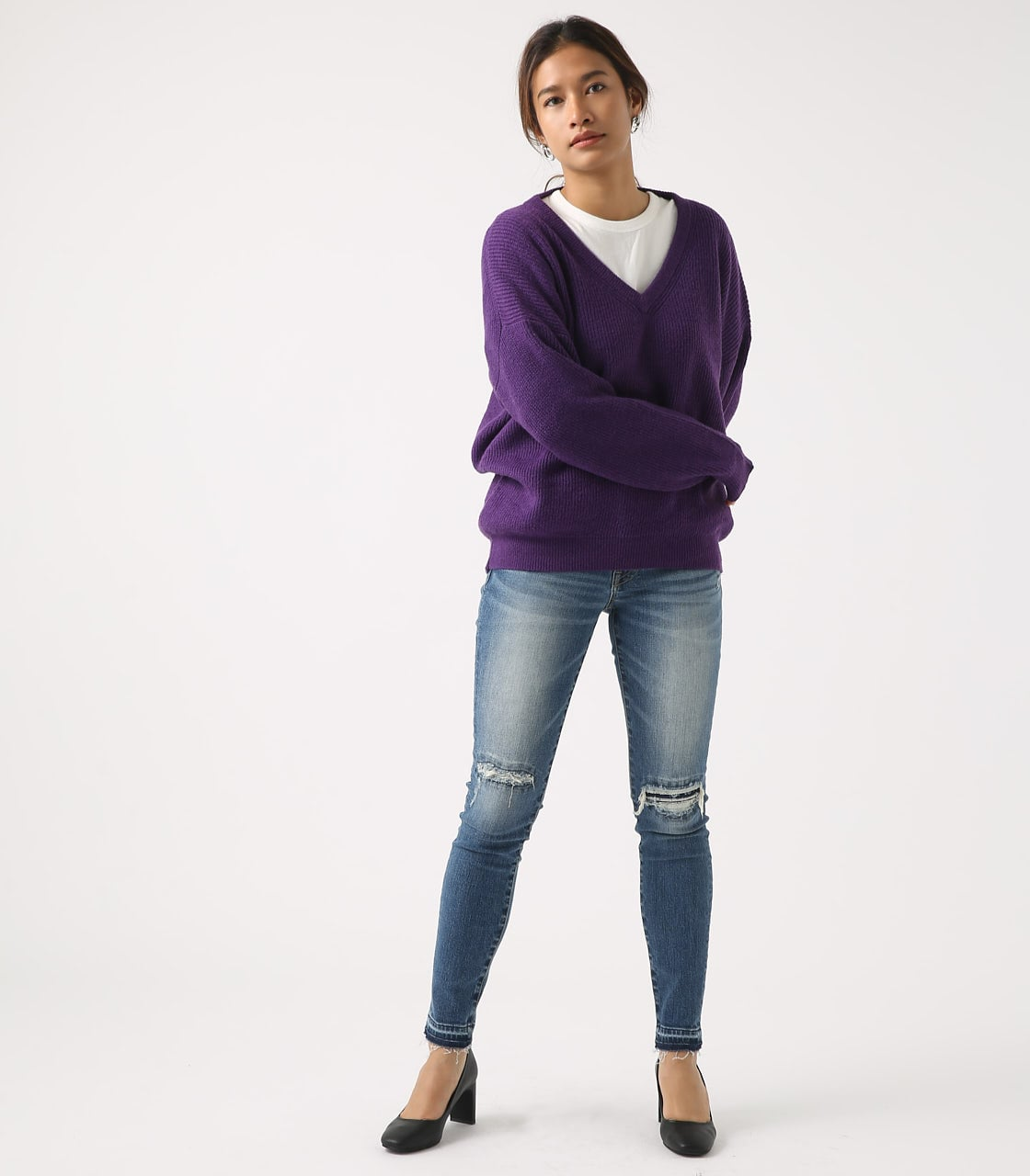 【AZUL BY MOUSSY】V NECK LOOSE KNIT TOPS 詳細画像 PUR 4