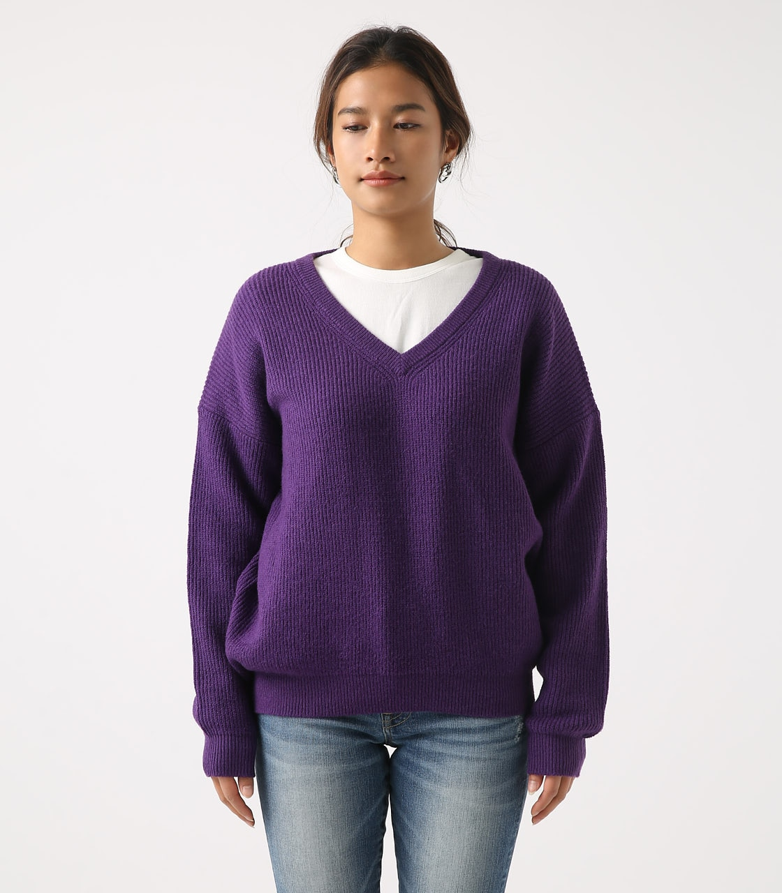 【AZUL BY MOUSSY】V NECK LOOSE KNIT TOPS 詳細画像 PUR 5