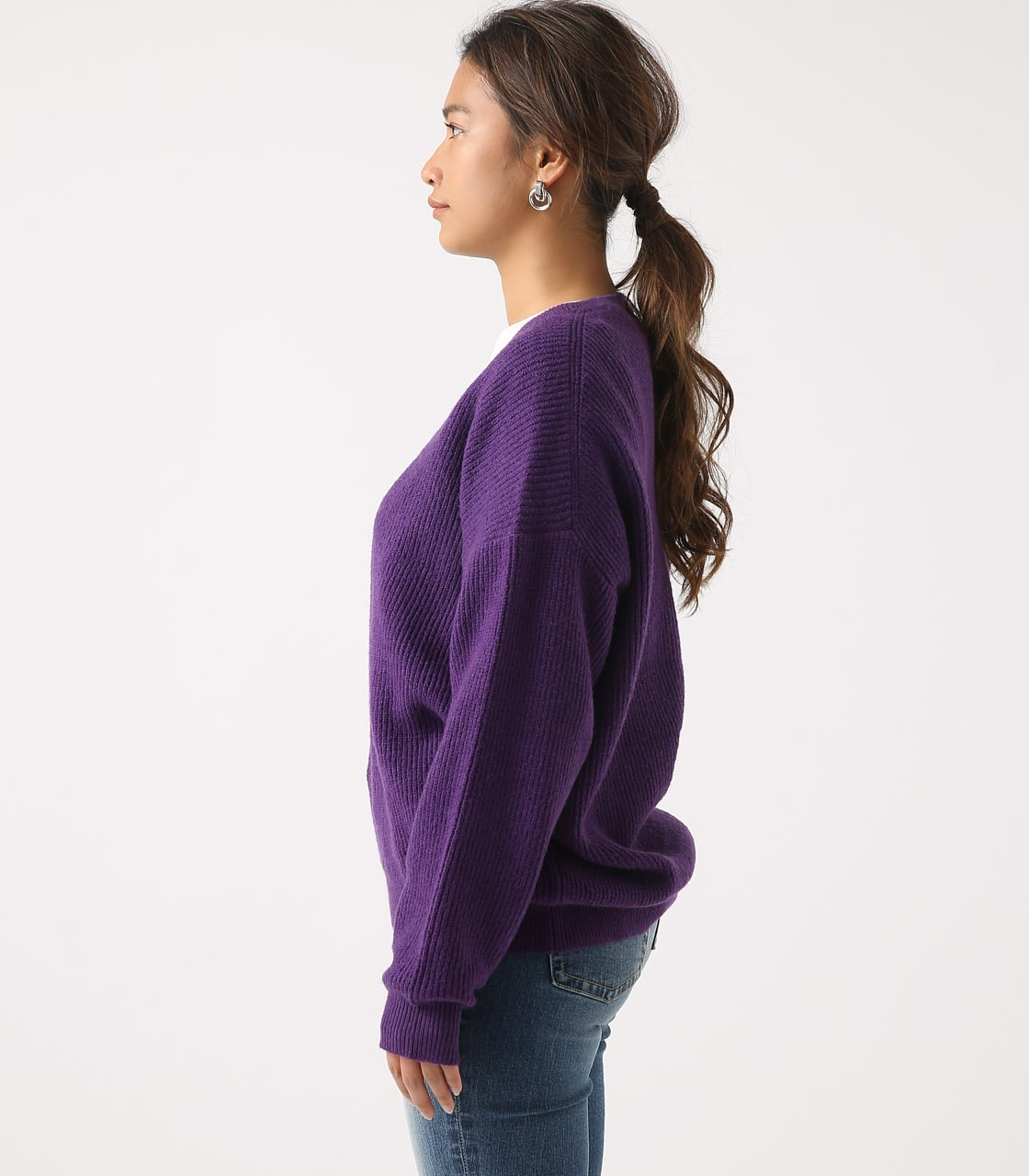 【AZUL BY MOUSSY】V NECK LOOSE KNIT TOPS 詳細画像 PUR 6