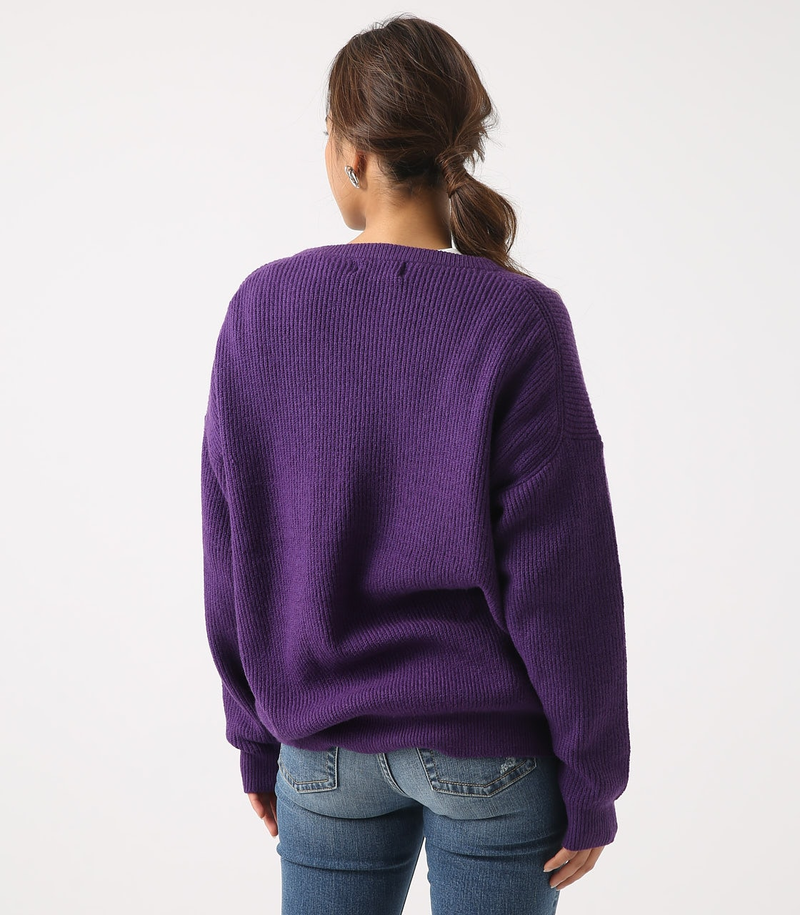 【AZUL BY MOUSSY】V NECK LOOSE KNIT TOPS 詳細画像 PUR 7