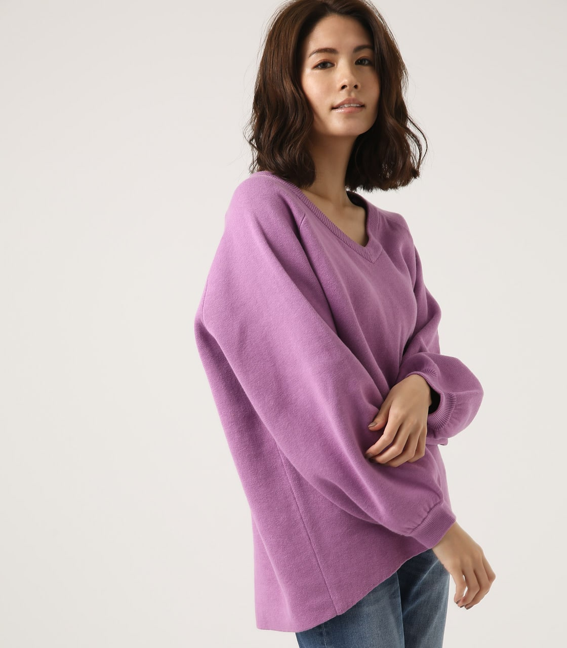 【AZUL BY MOUSSY】SWEATTER Vネック LOOSE TOPS 詳細画像 L/PUR 1