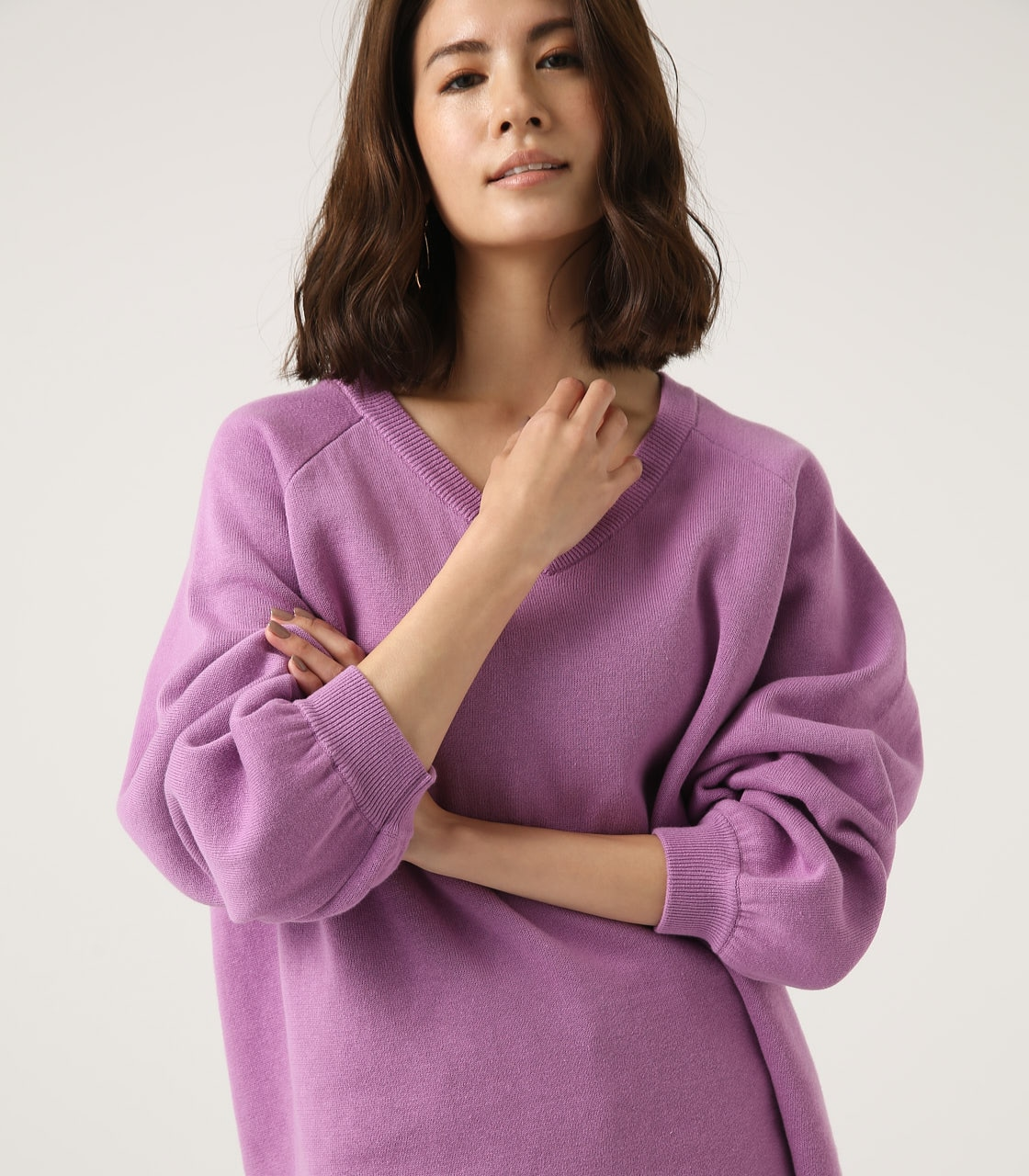 【AZUL BY MOUSSY】SWEATTER Vネック LOOSE TOPS 詳細画像 L/PUR 2