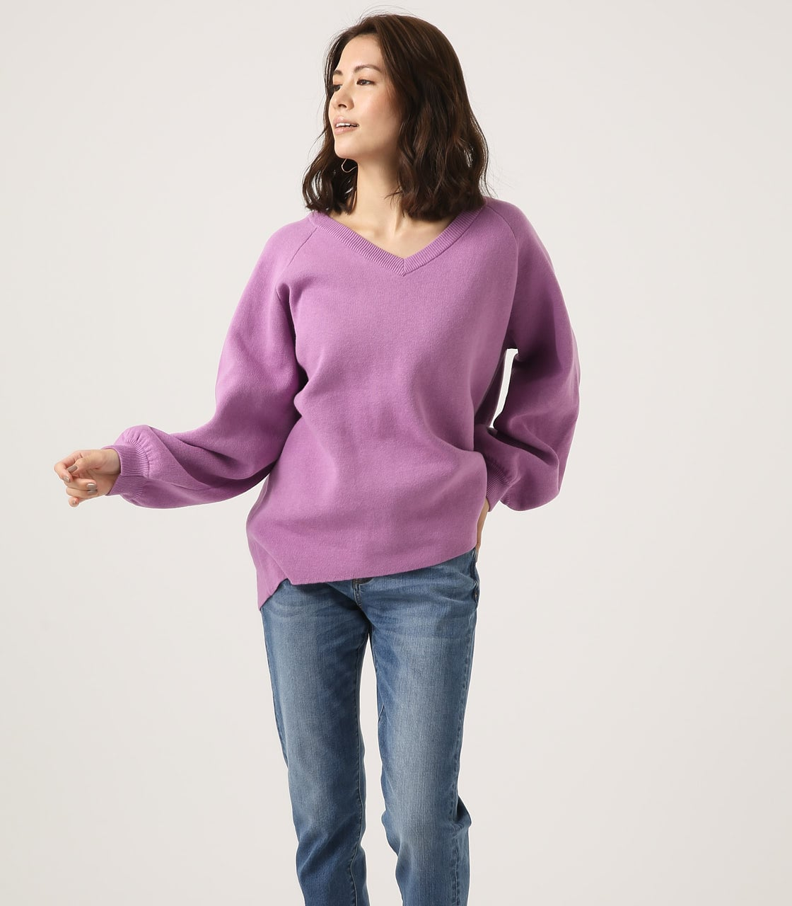 【AZUL BY MOUSSY】SWEATTER Vネック LOOSE TOPS 詳細画像 L/PUR 3